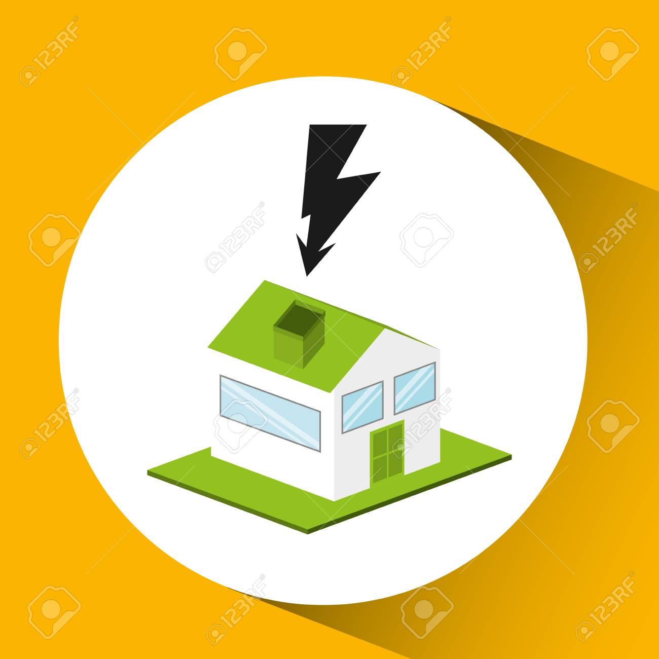 maison avec alimentation lectrique icne illustration vectorielle banque dimages 60271451 - Alimentation Electrique D Une Maison