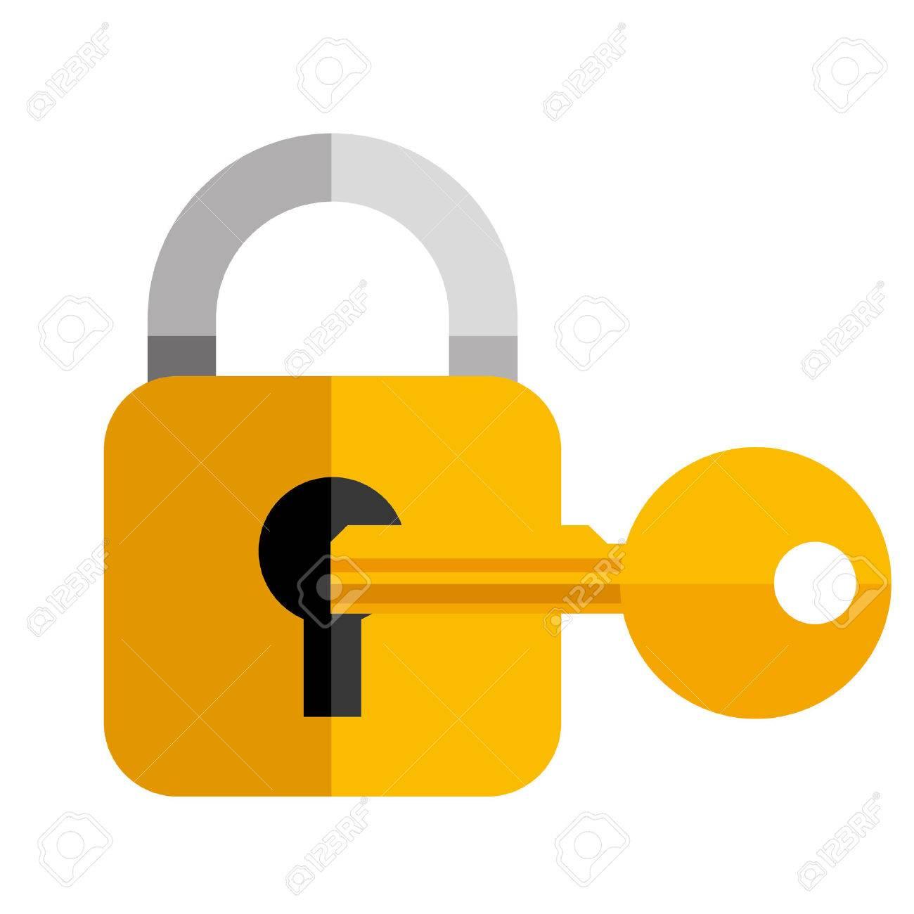 secutiy lock key object icon vector illustration - 59901132