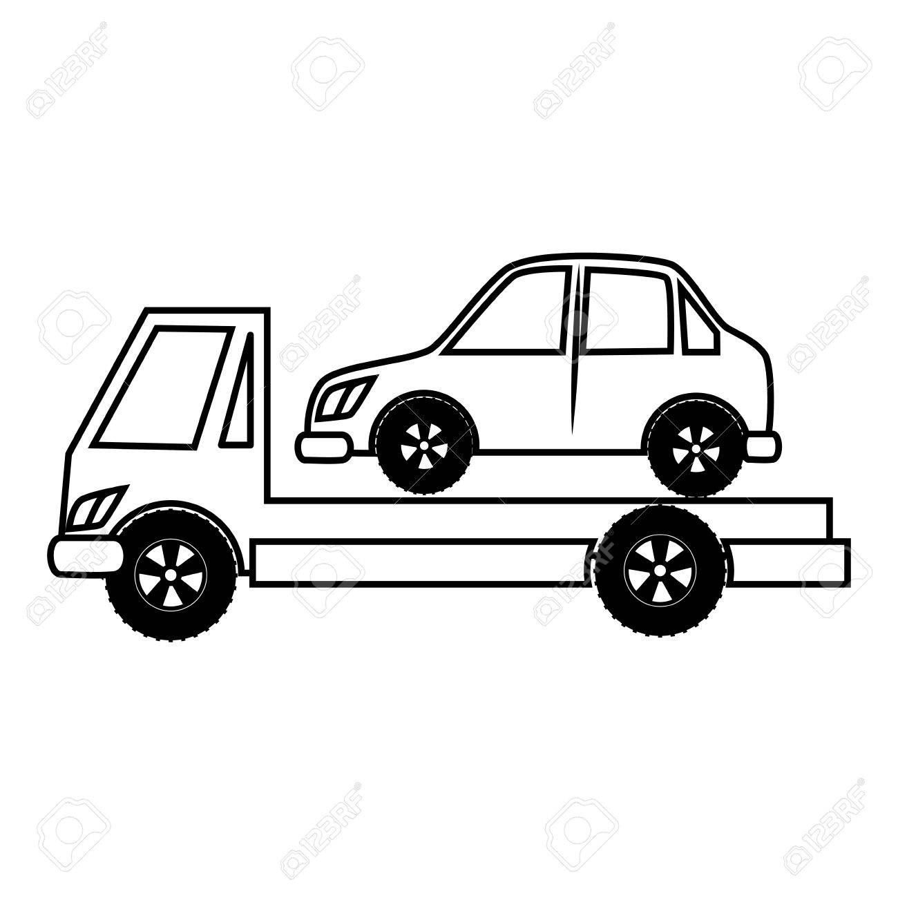 truck towing car black and white colors isolated flat icon royalty