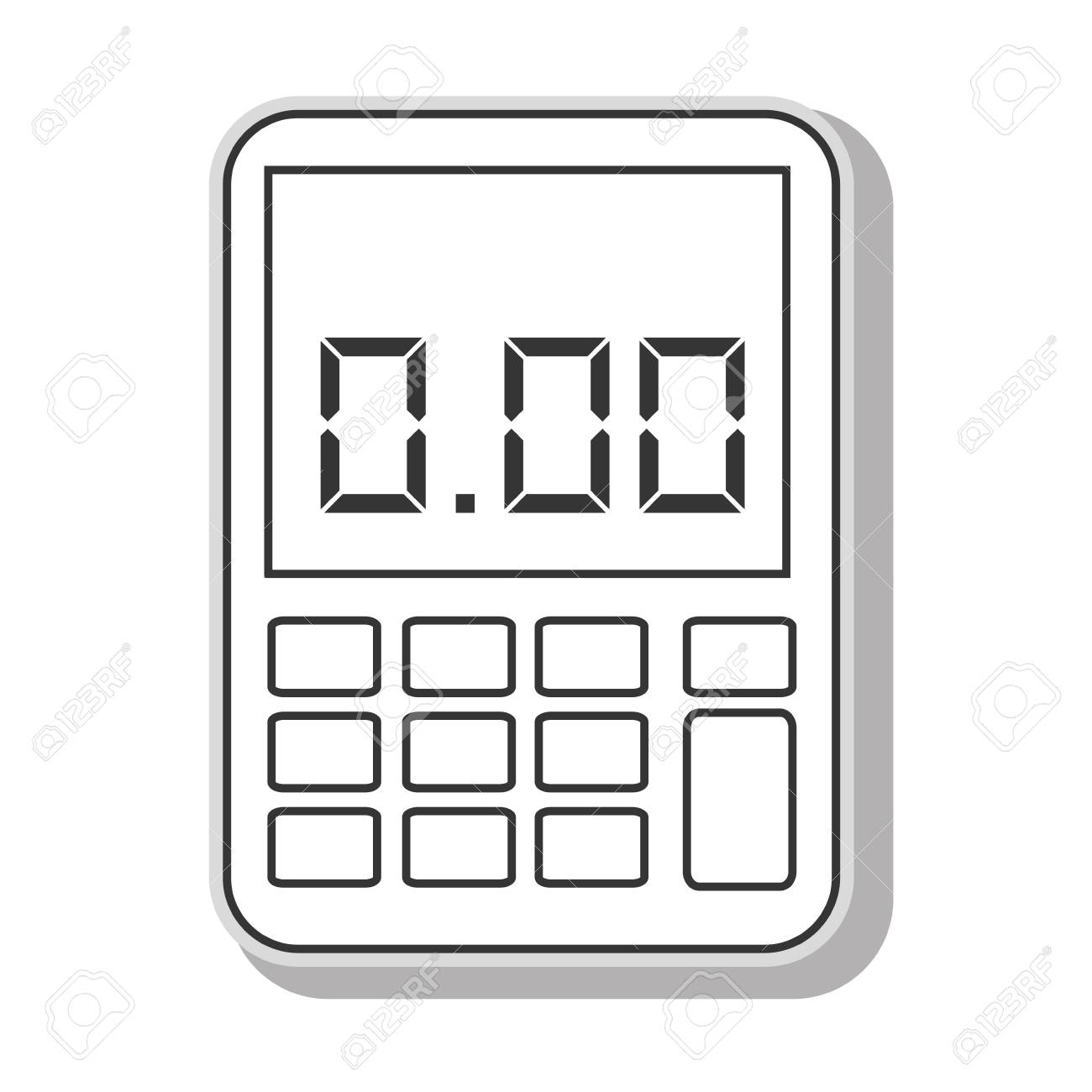 calculator math buttons in black and white colors, isolated flat
