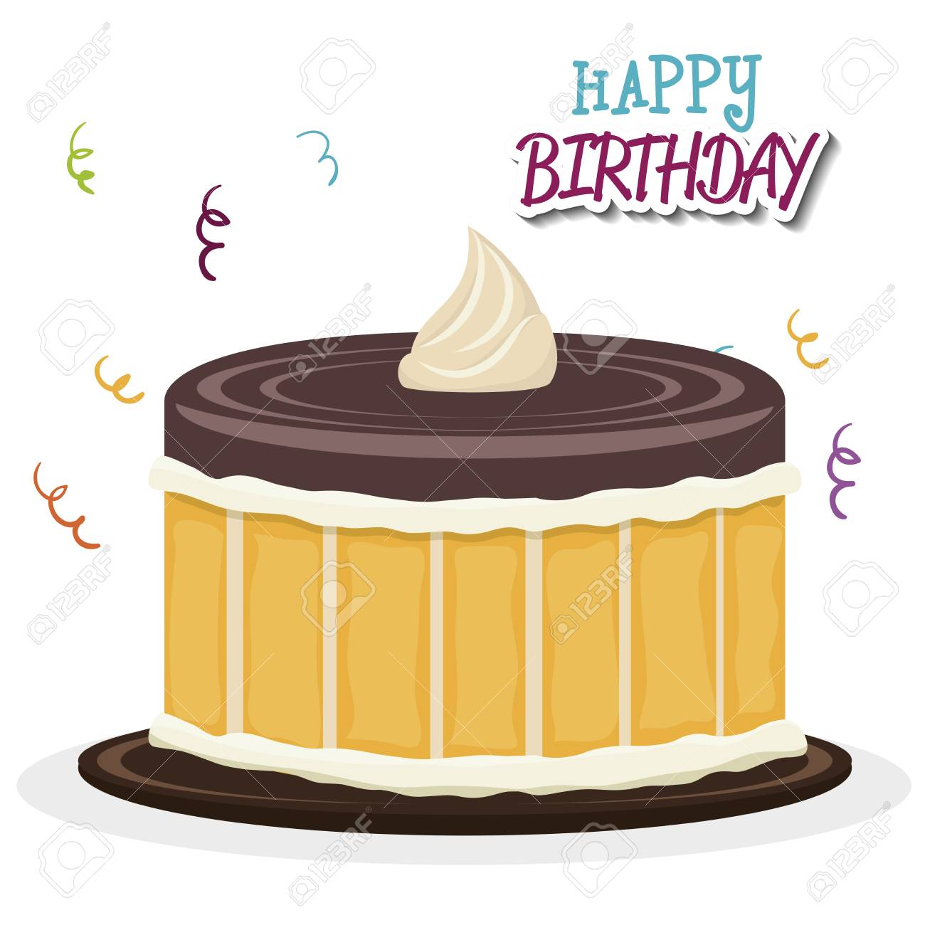 Happy Birthday Cake Isolated Icon Design Vector Illustration Graphic Stock