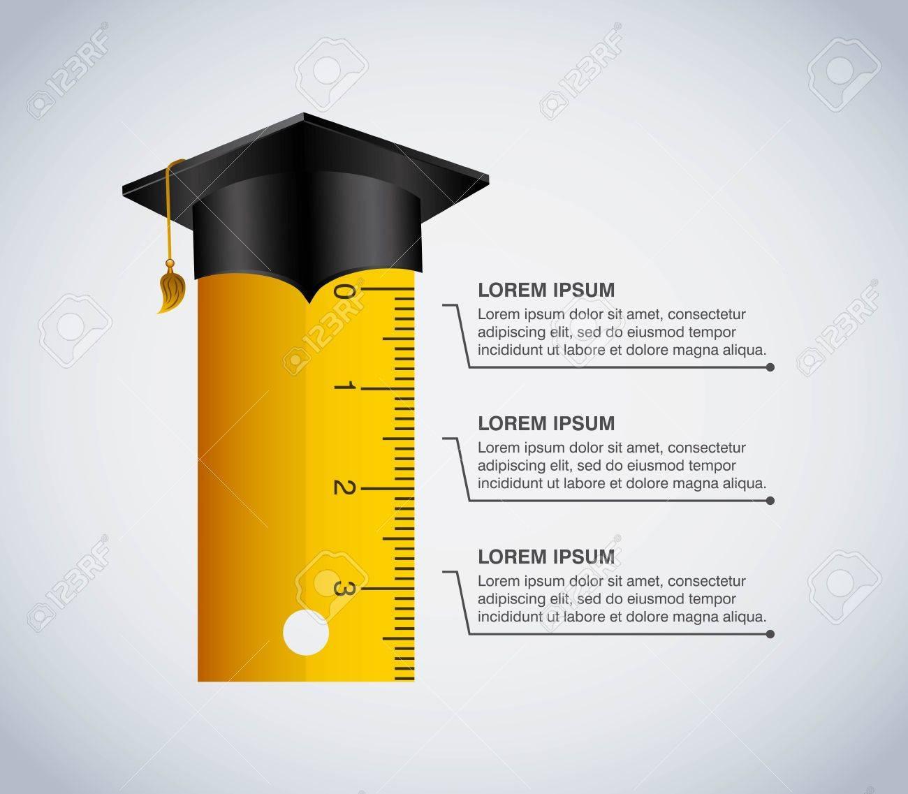 Concept de l'éducation Infographic représenté par la règle et le chapeau de graduation icône. Colorfull et illustration plat.