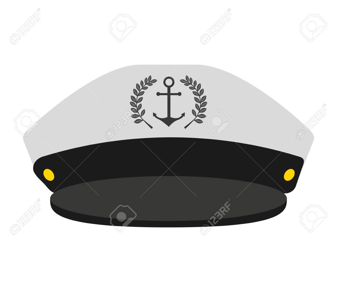 34b0f43796615 captain sailor anchor hat vector isolated graphic Stock Vector - 60494494