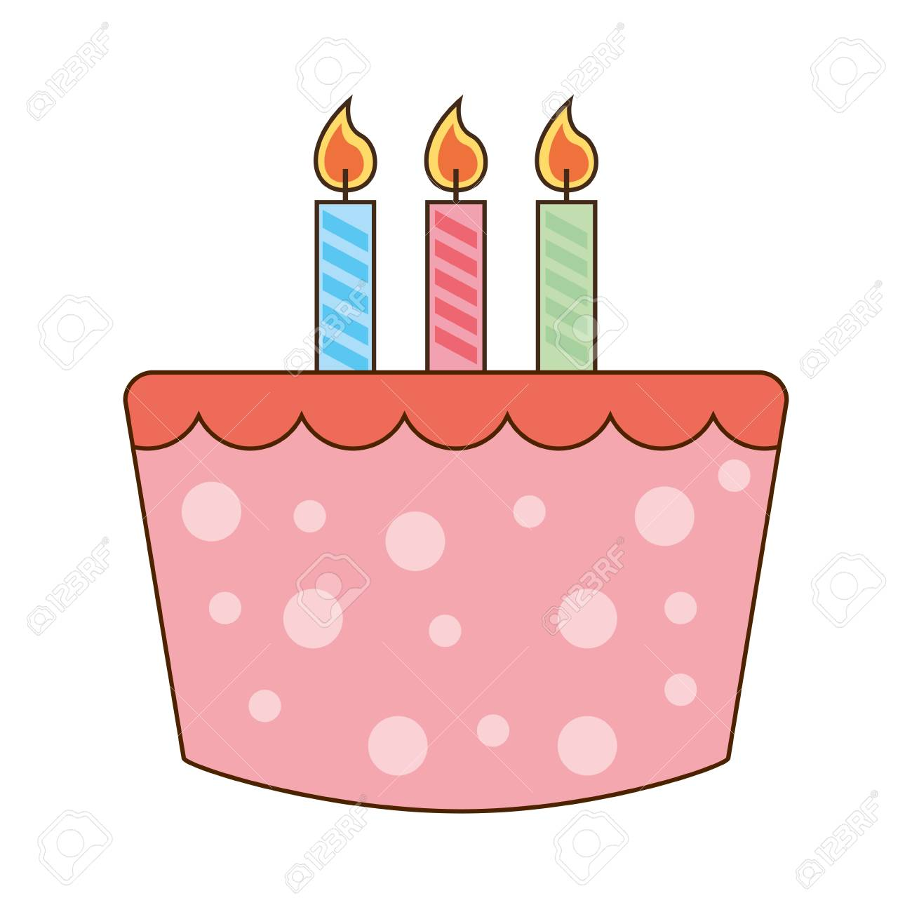 Cake Delicious Candles Birthday Icon Vector Illustration Graphic