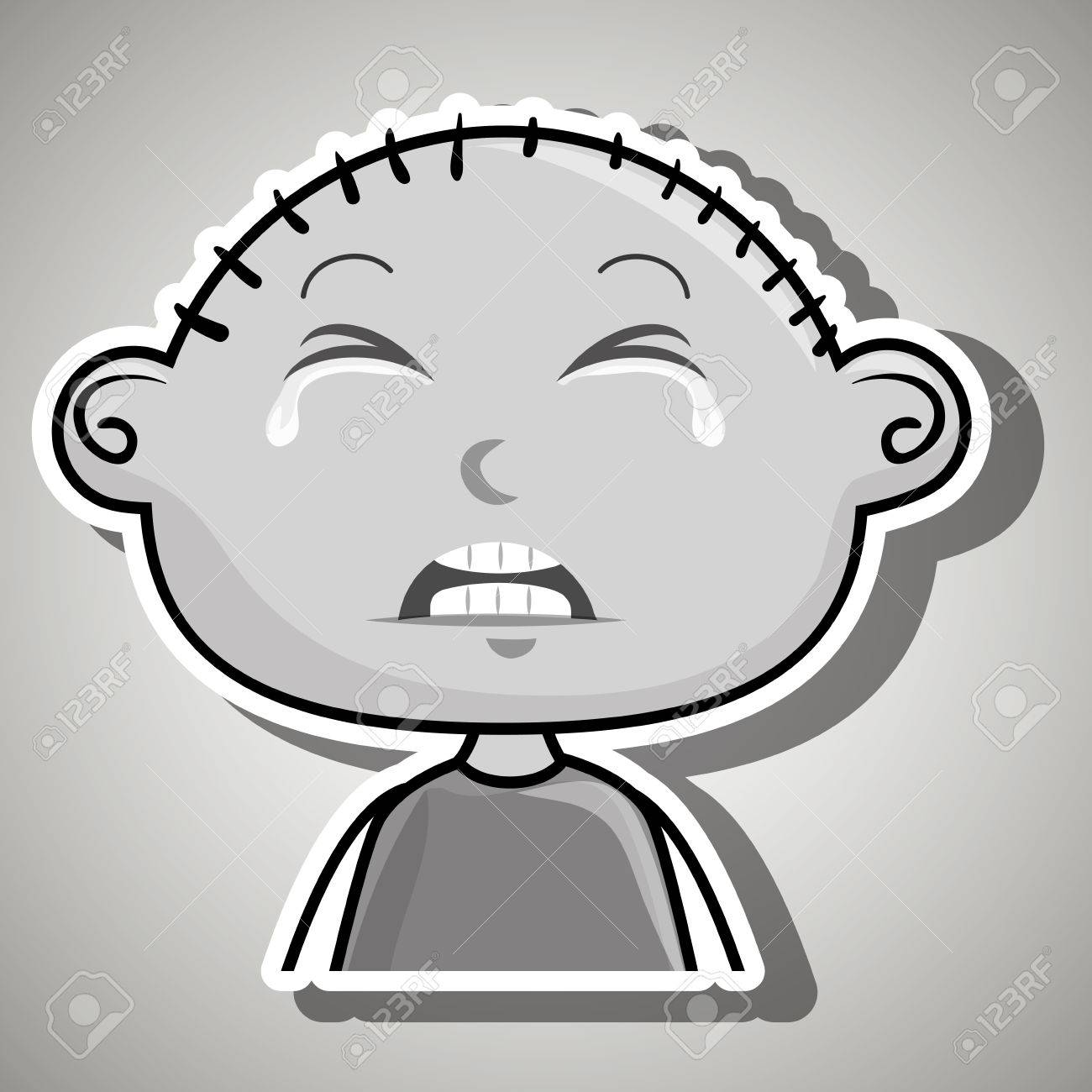 crying cartoon little boy over a white background,vector