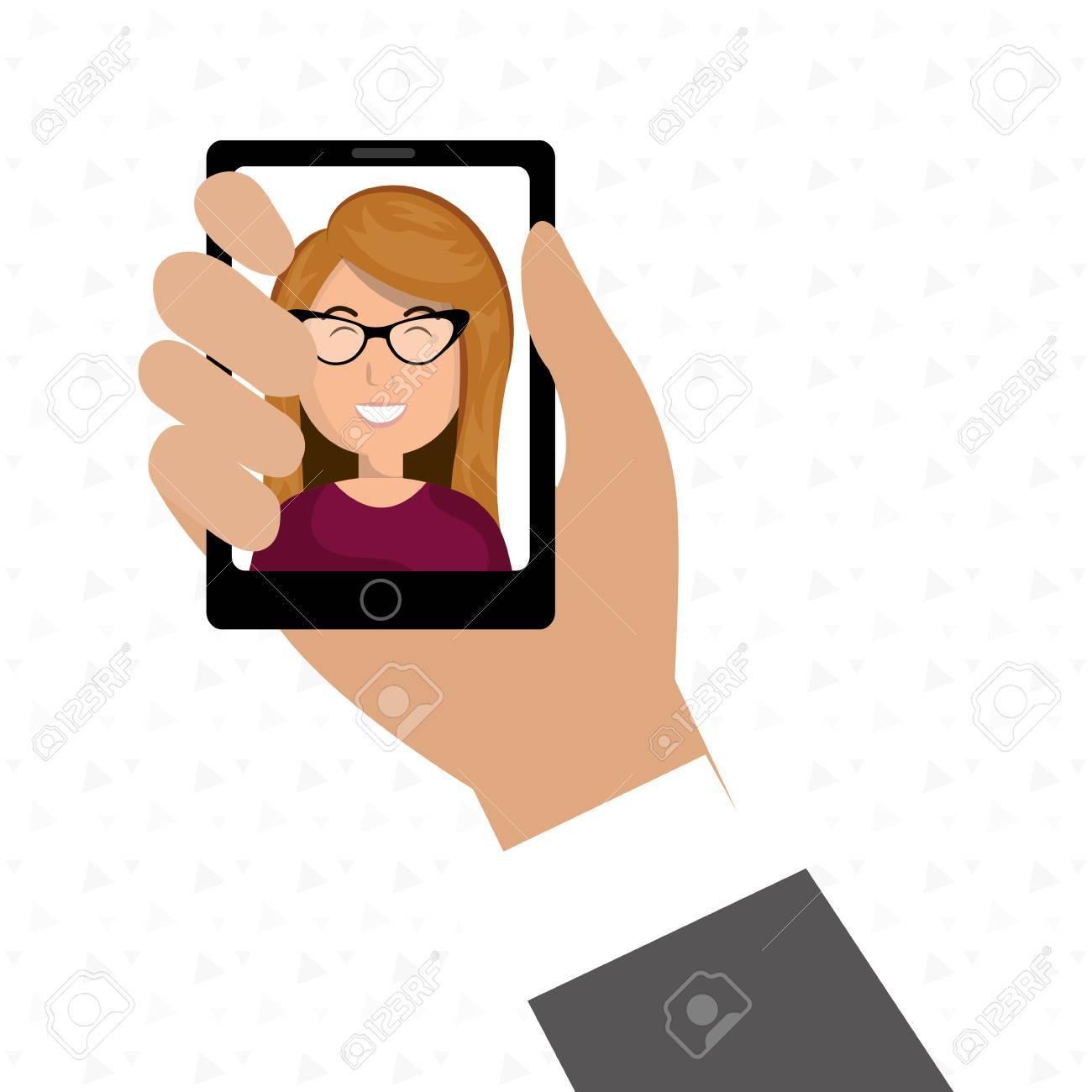 Homme D Affaires De Dessin Anime Main Tenant Un Smartphone Noir Sur Un Fond Blanc Avec Une Femme D Affaires De Bande Dessinee Dans Le Vecteur D Ecran