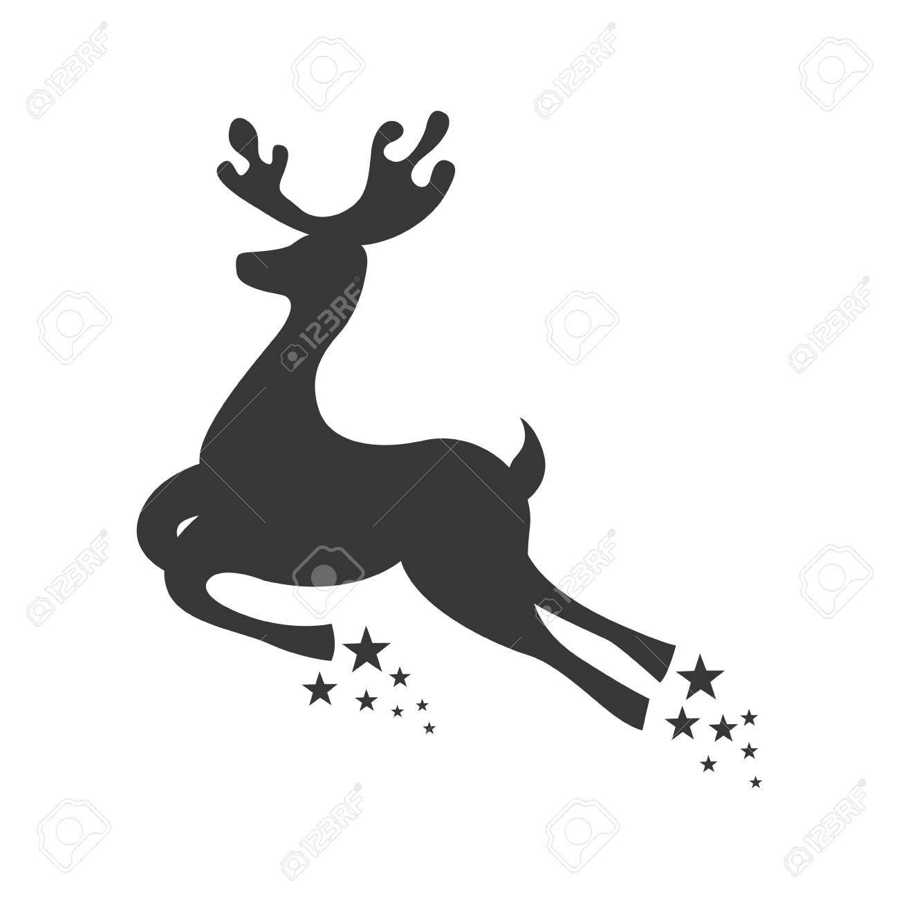 Renos Ciervo Navidad Icono Volando Ilustracion Vectorial De Diseno - Ciervo-navidad