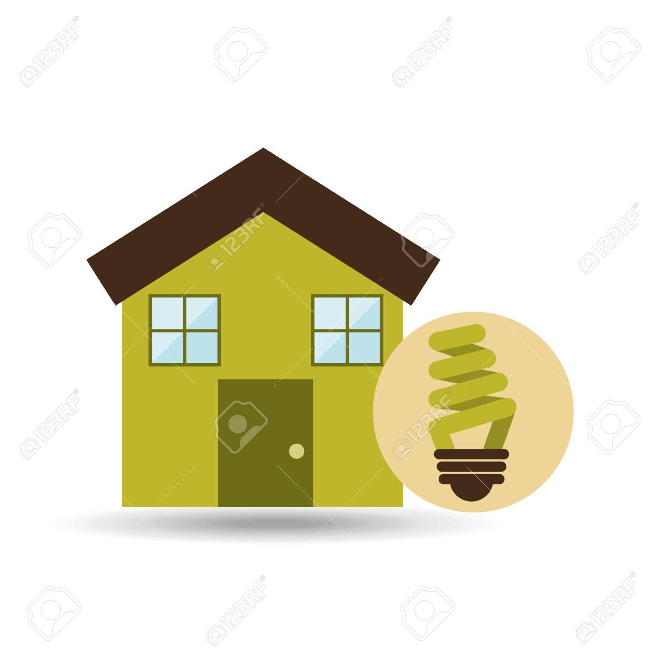 maison de l'écologie avec l'icône d'économie d'énergie, vecteur clip