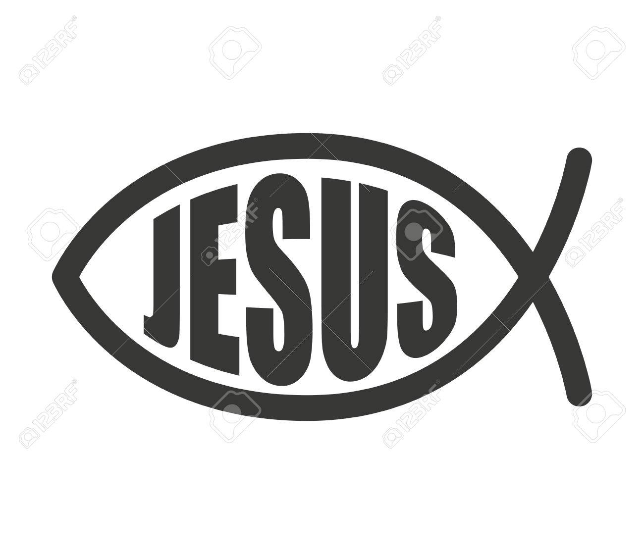 Fish Jesus Christ Word Icon Vector Illustration Design Royalty Free