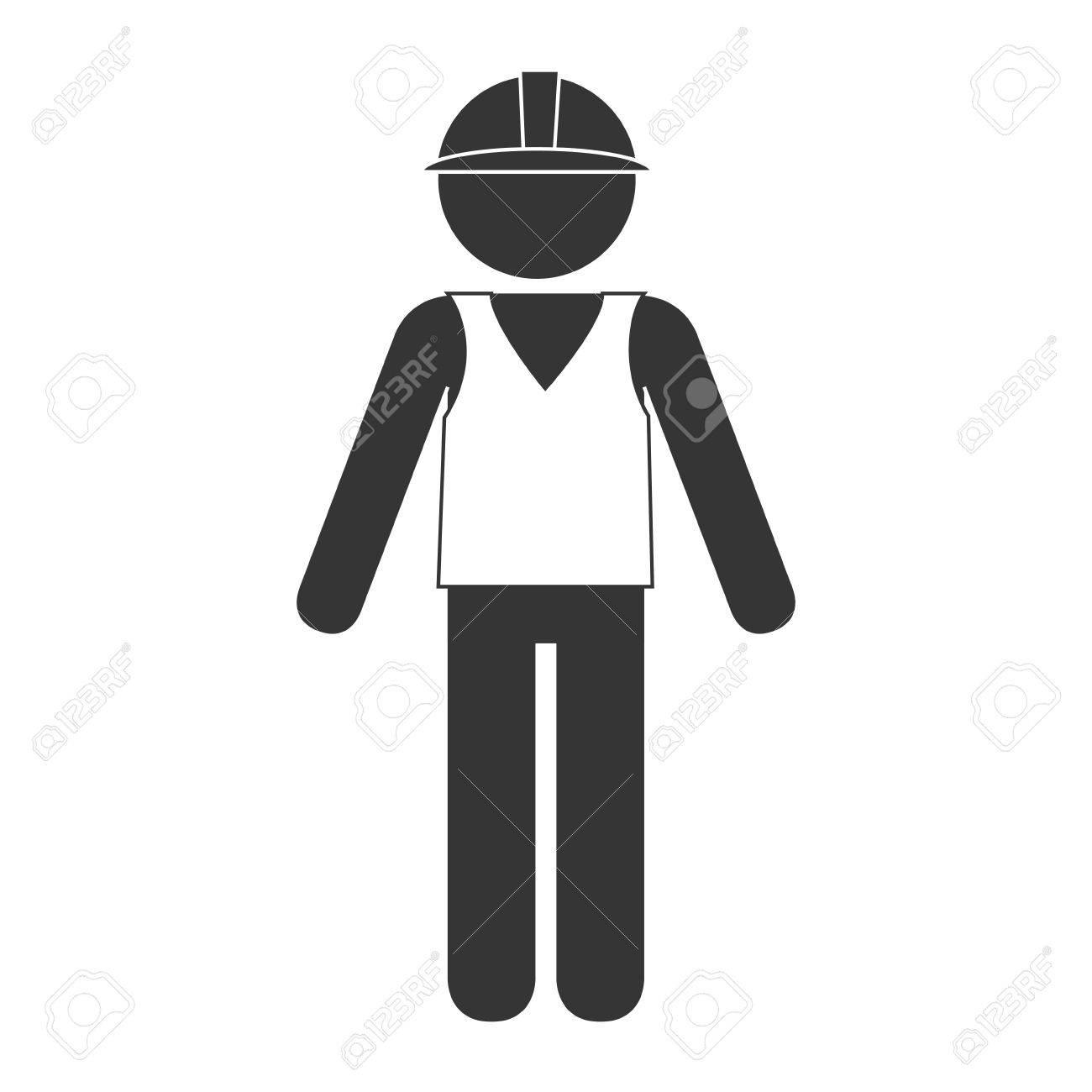 builder construction worker helmet man vector graphic isolated