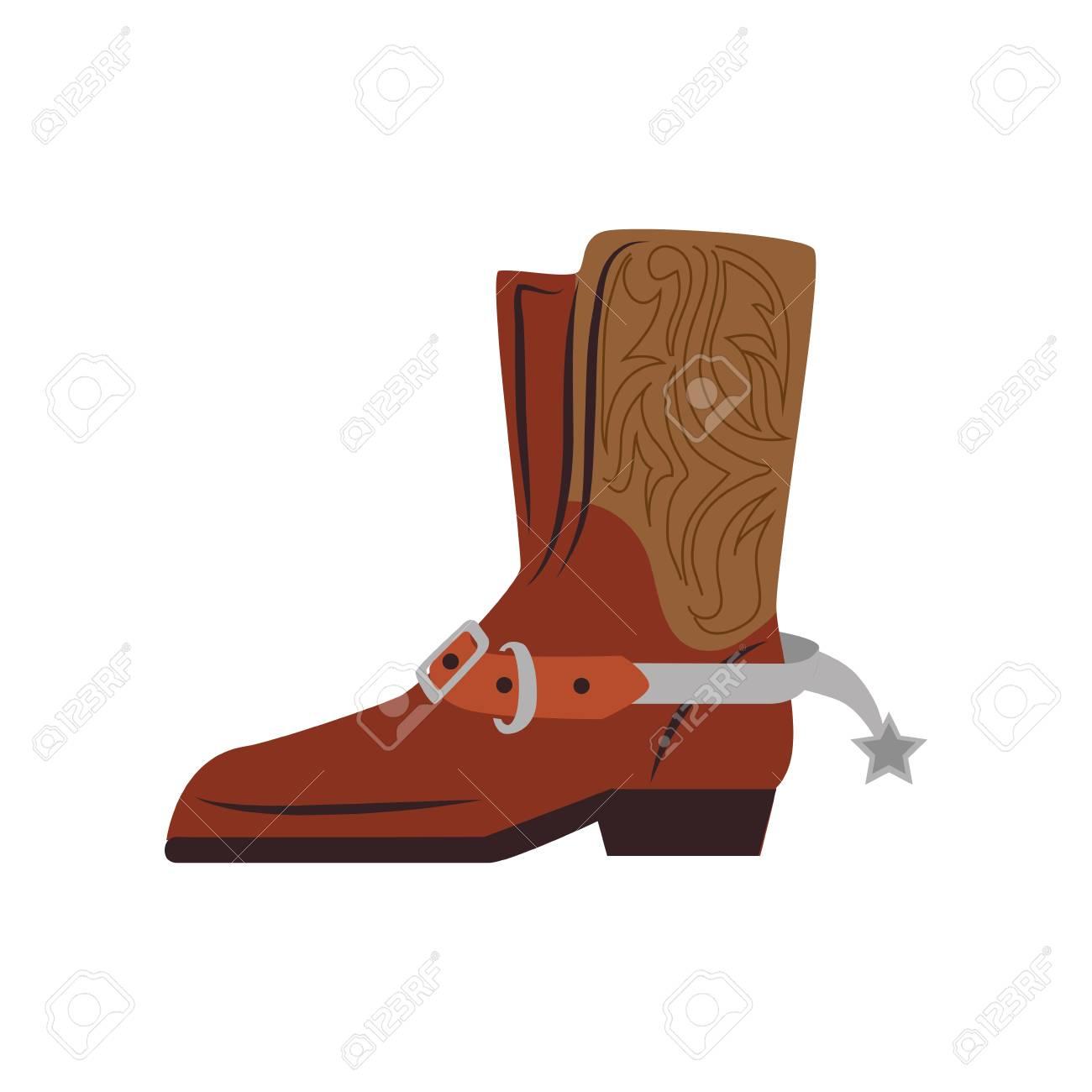 Botte cowboy étoiles chaussures classique ouest texas graphique vectoriel isolé et plat illustration