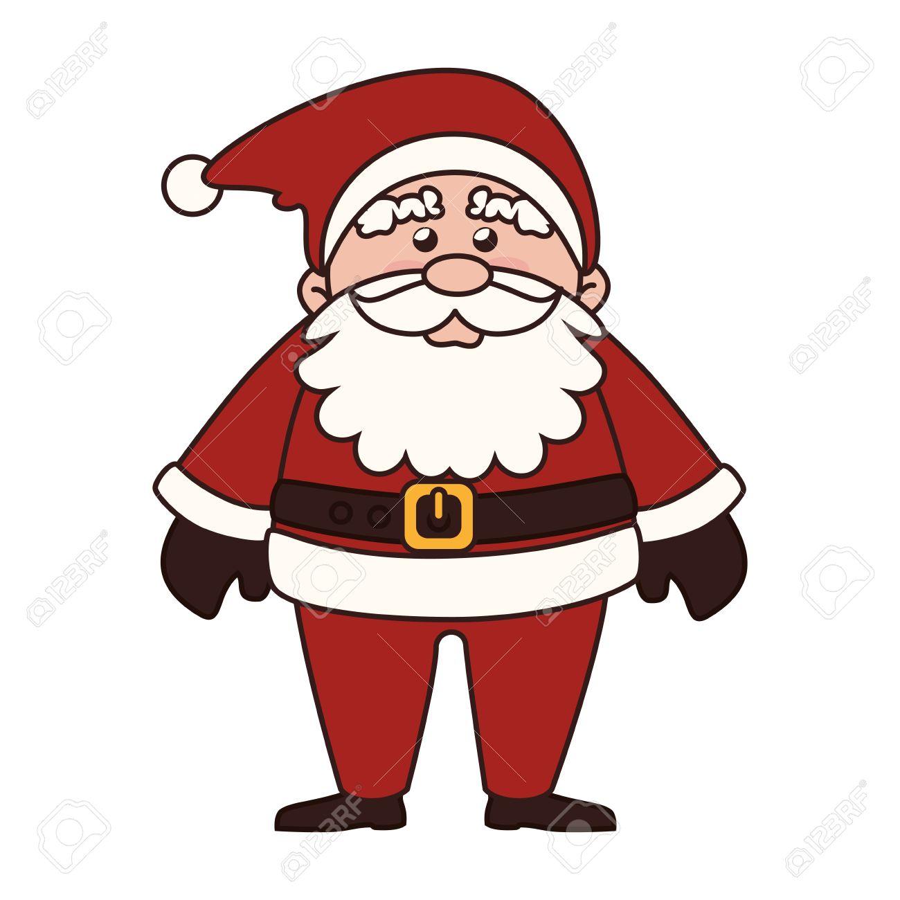 Père Noël Homme Barbe Noël Dessin Animé Chapeau Rouge Graphique Traditionnel Vecteur Isolé Et Illustration Plat