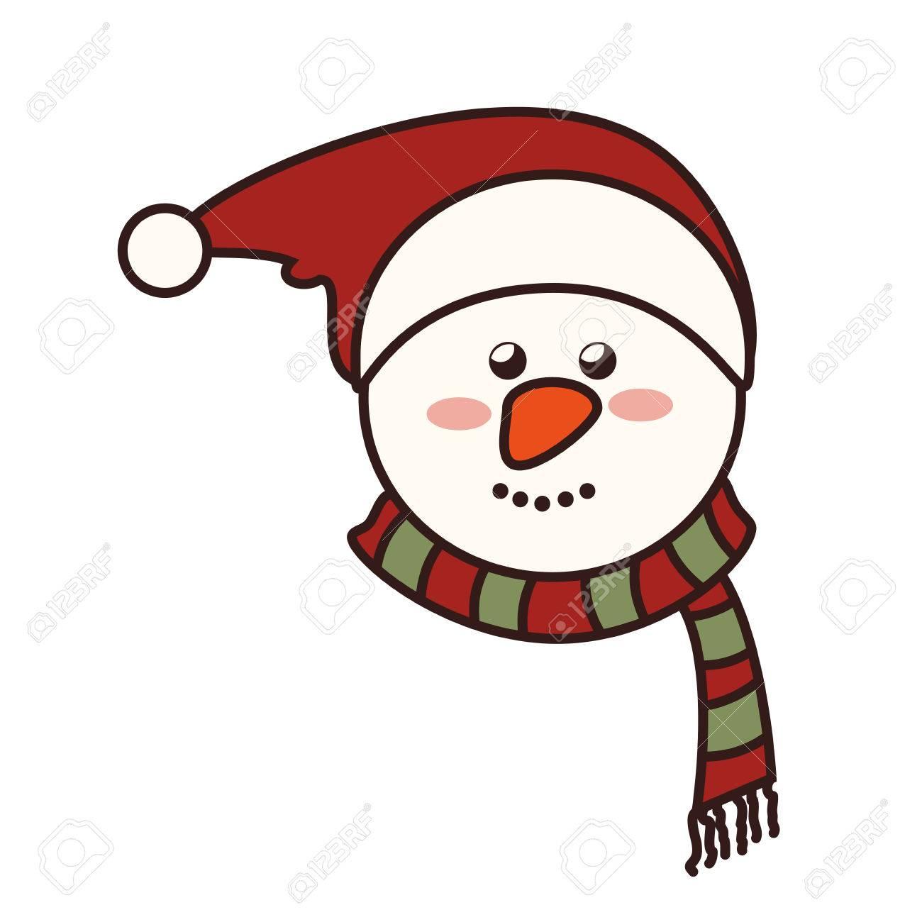 Bonhomme Graphique visage de bonhomme de neige noël noël saison chapeau nez souriant