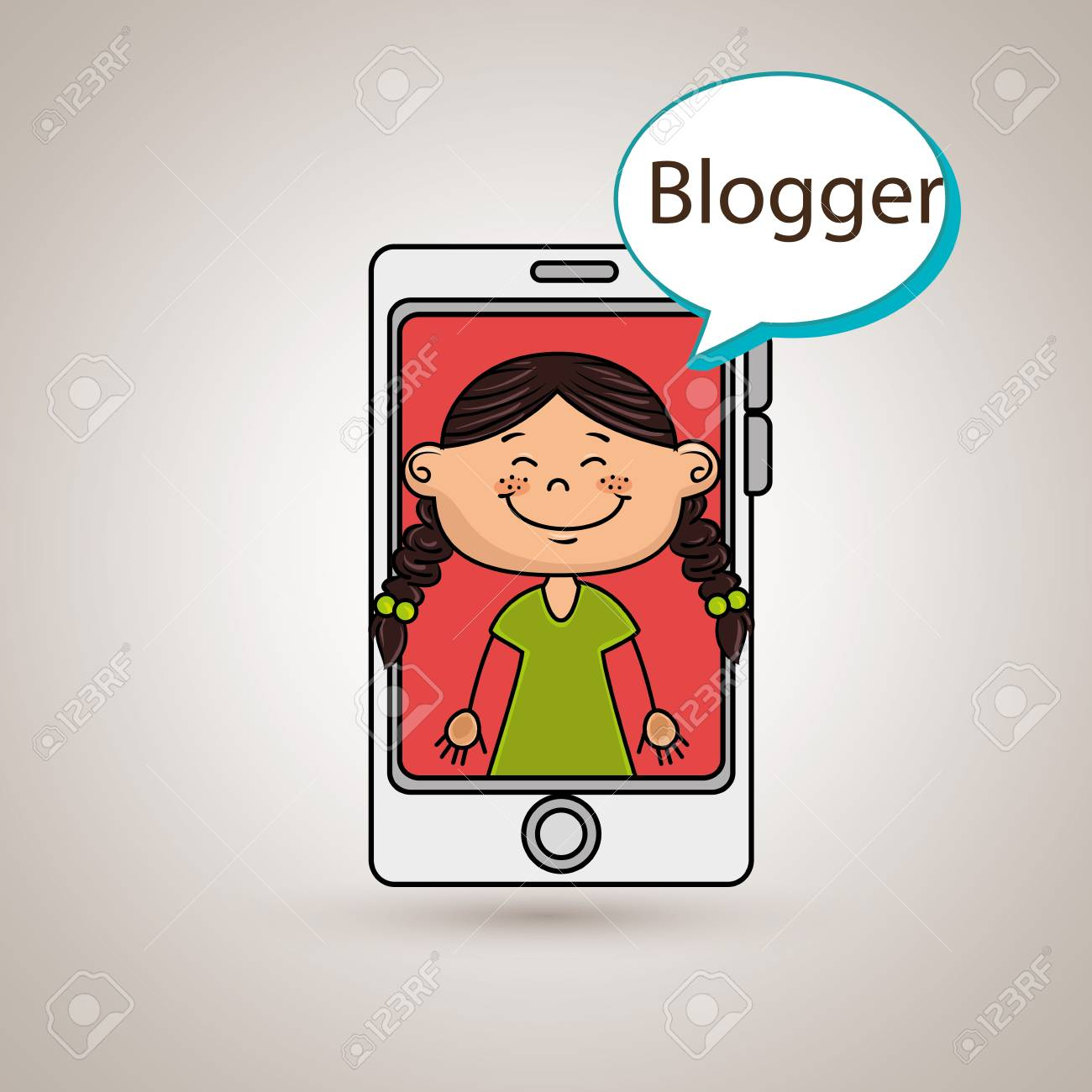 Girl Cellphone Blogger Web Vector Illustration Graphic Stock