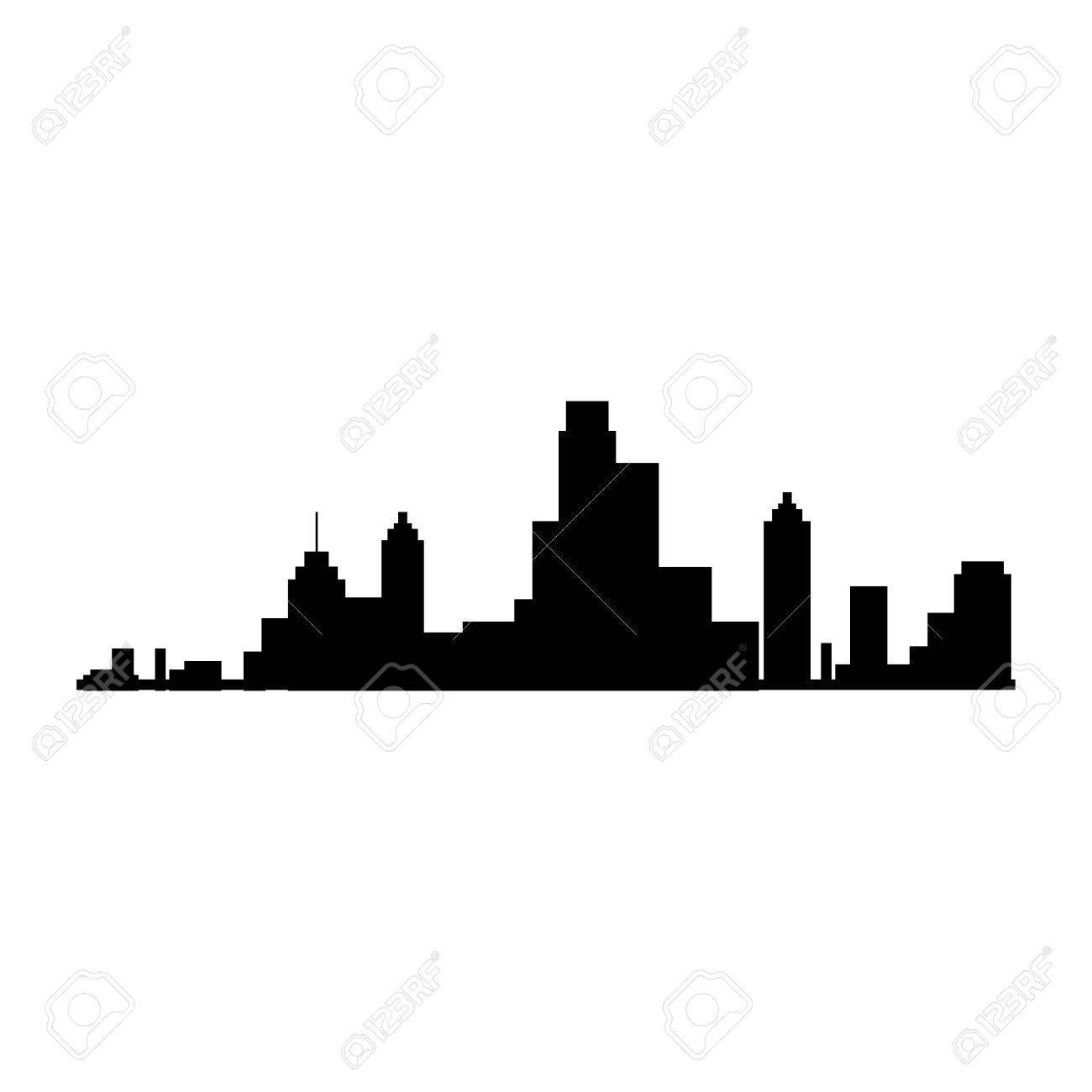 New York Silhouette City Building Skyline View Front Vector Illustration Isolated Stock