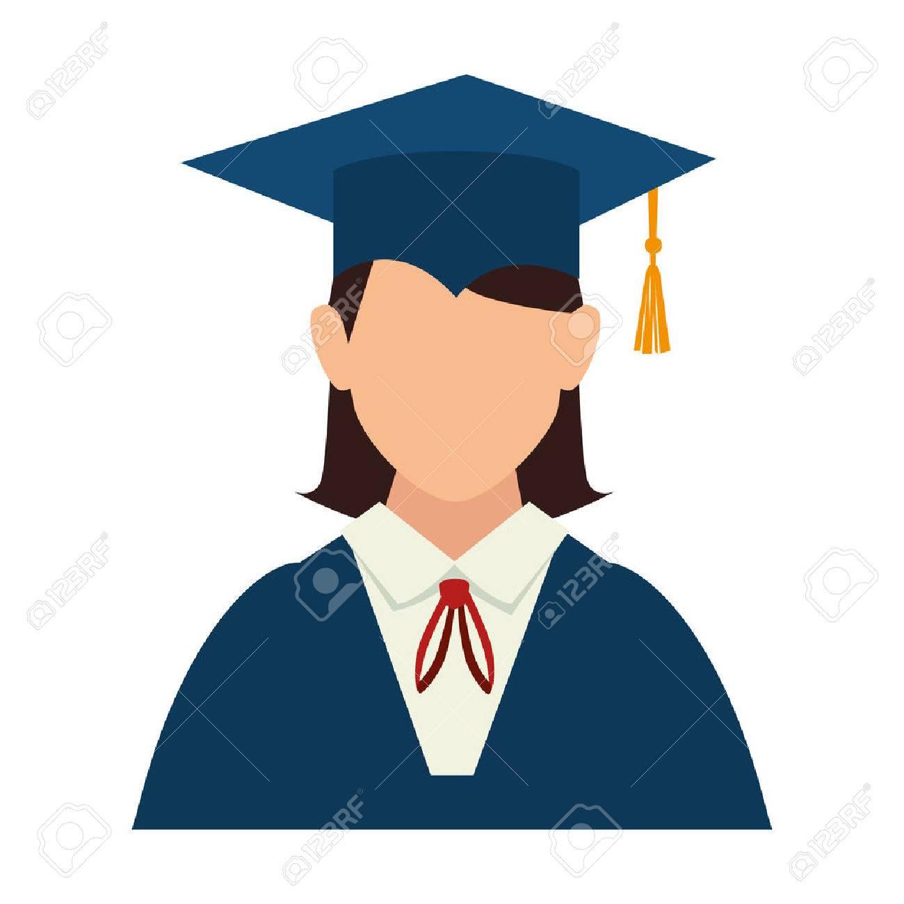 Women Girl Hat Graduate Graduation Gown Cap Achievement Vector ...