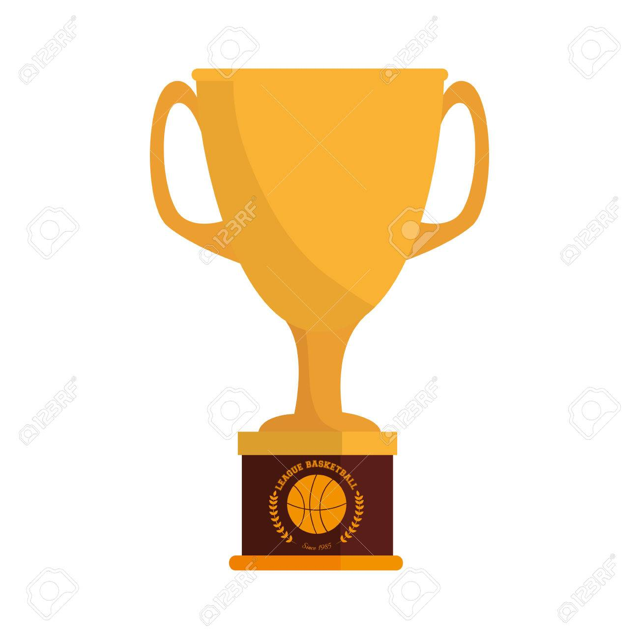 Trophy Cup Basketball Winner League Game Sport Award Vector Illustration Stock