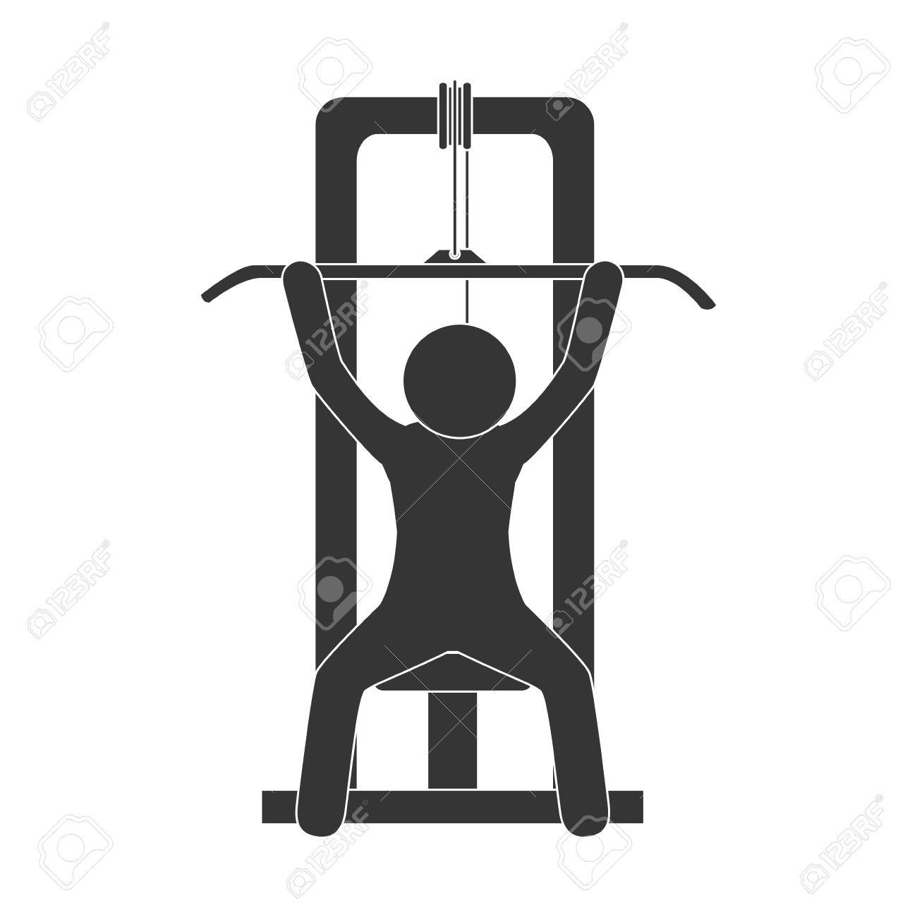 Man Gym Equipment Weight Training Sport Fitness Machine Vector Royalty Free Cliparts Vectors And Stock Illustration Image 61299088