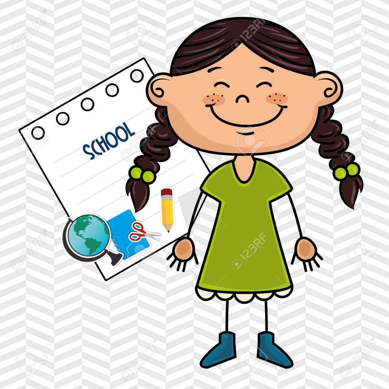 Niña De Dibujos Animados Icono Estudiante De Diseño De Ilustración