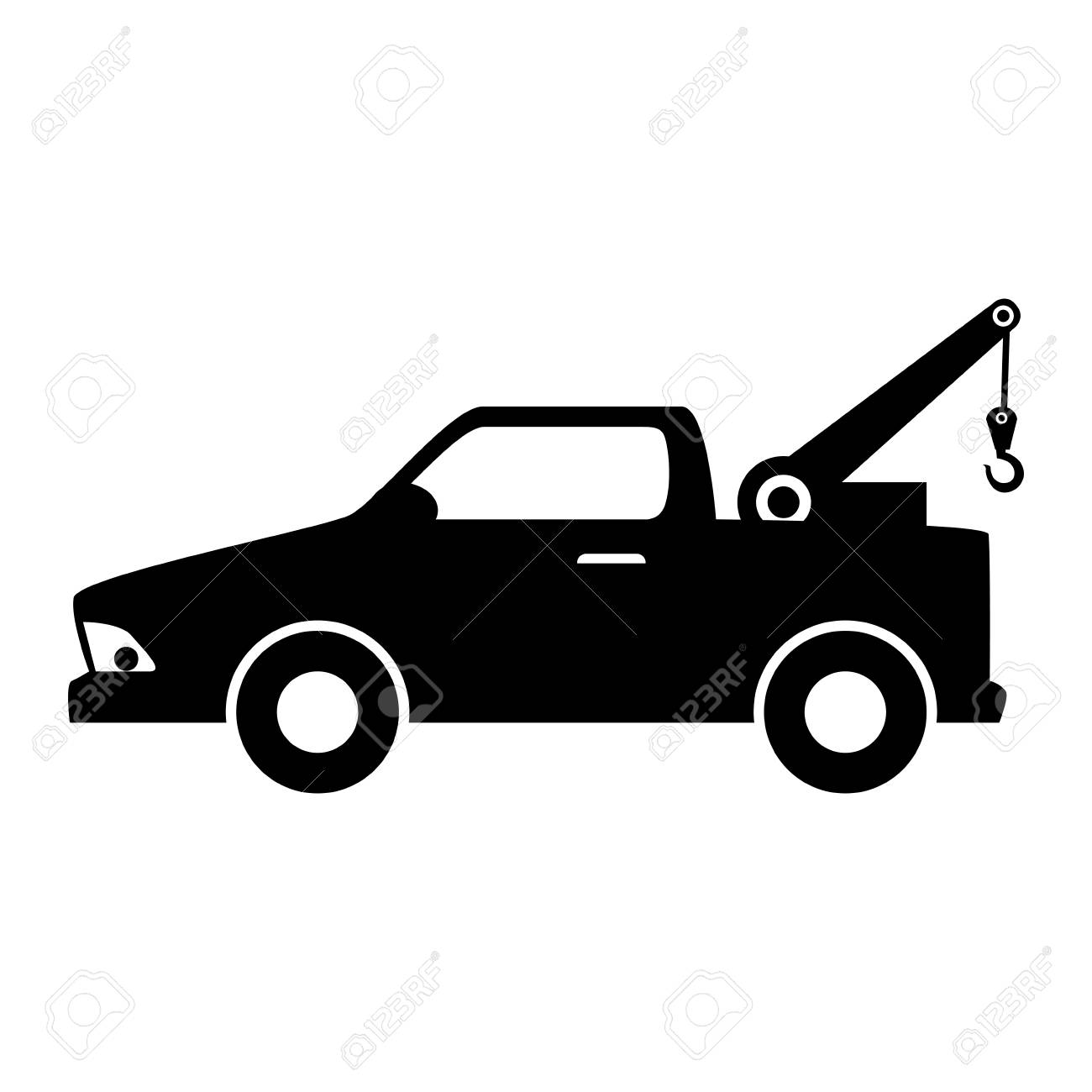 car towing truck tow service vehicle silhouette vector illustration rh 123rf com tow truck logo vector tow truck vector art