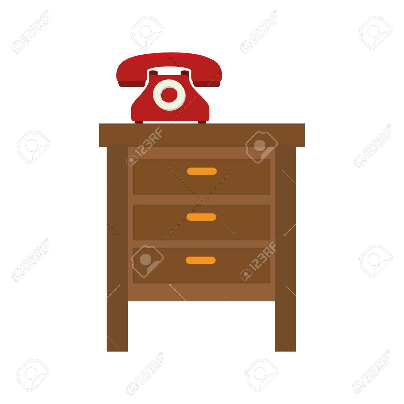 Mesita De Noche Con El Teléfono Retro Ilustración Vectorial Muebles ...
