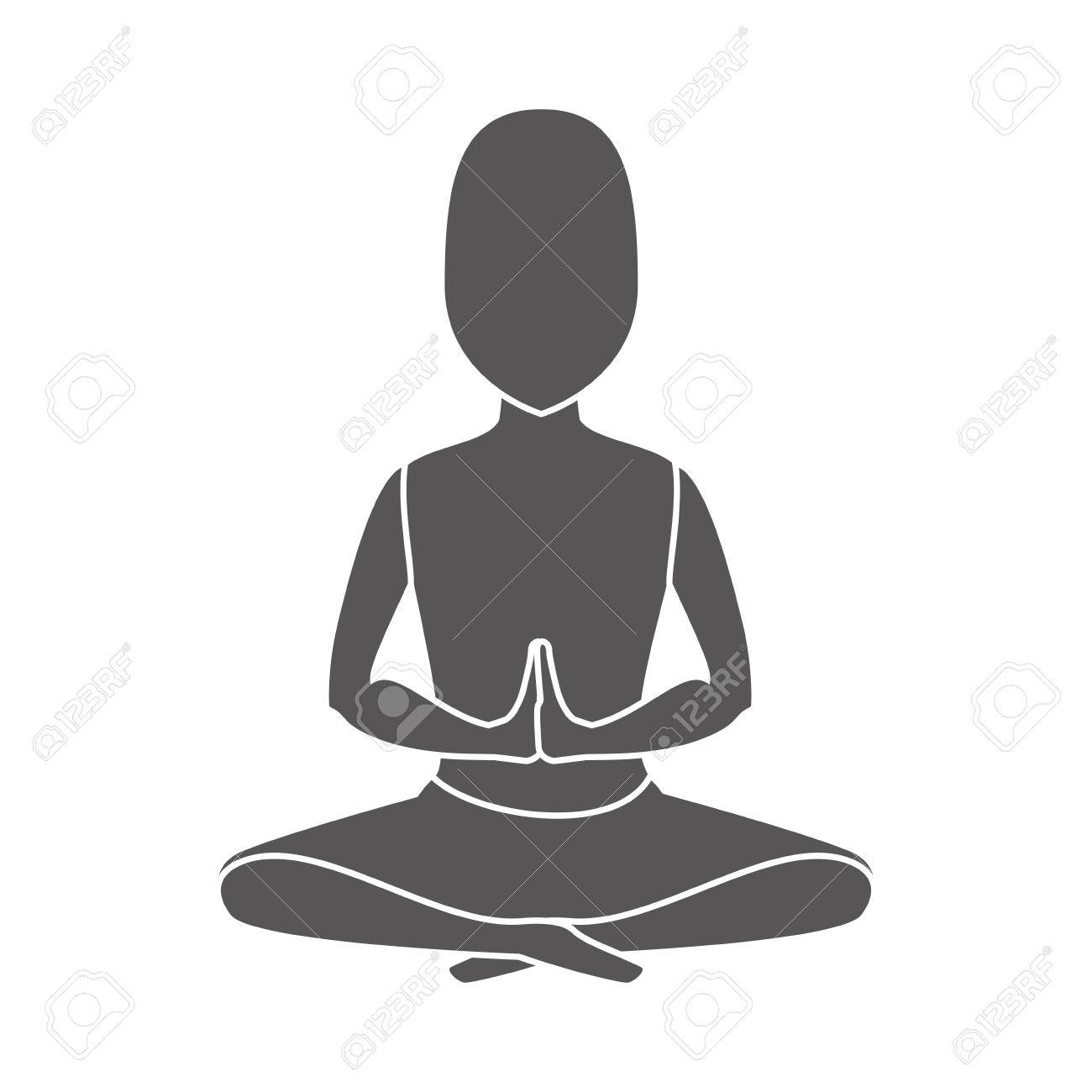 Yoga Pose Meditating Man Relaxation Exercise Silhouette Vector