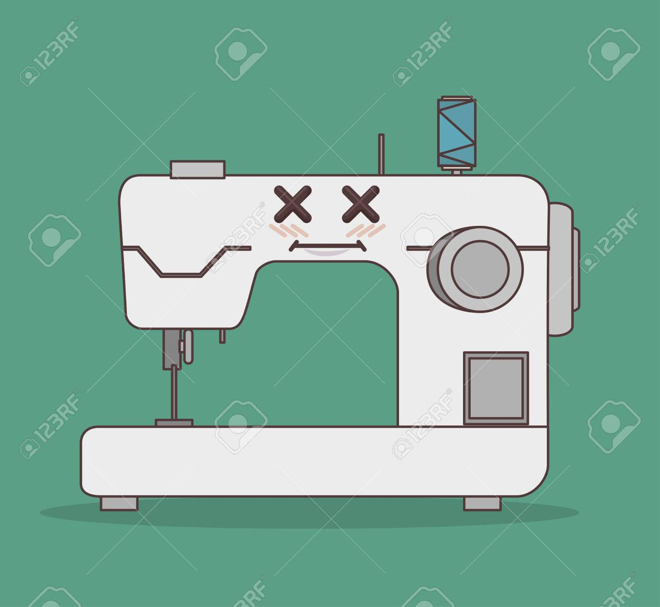 61749080 sewing machine character icon vector illustration graphic