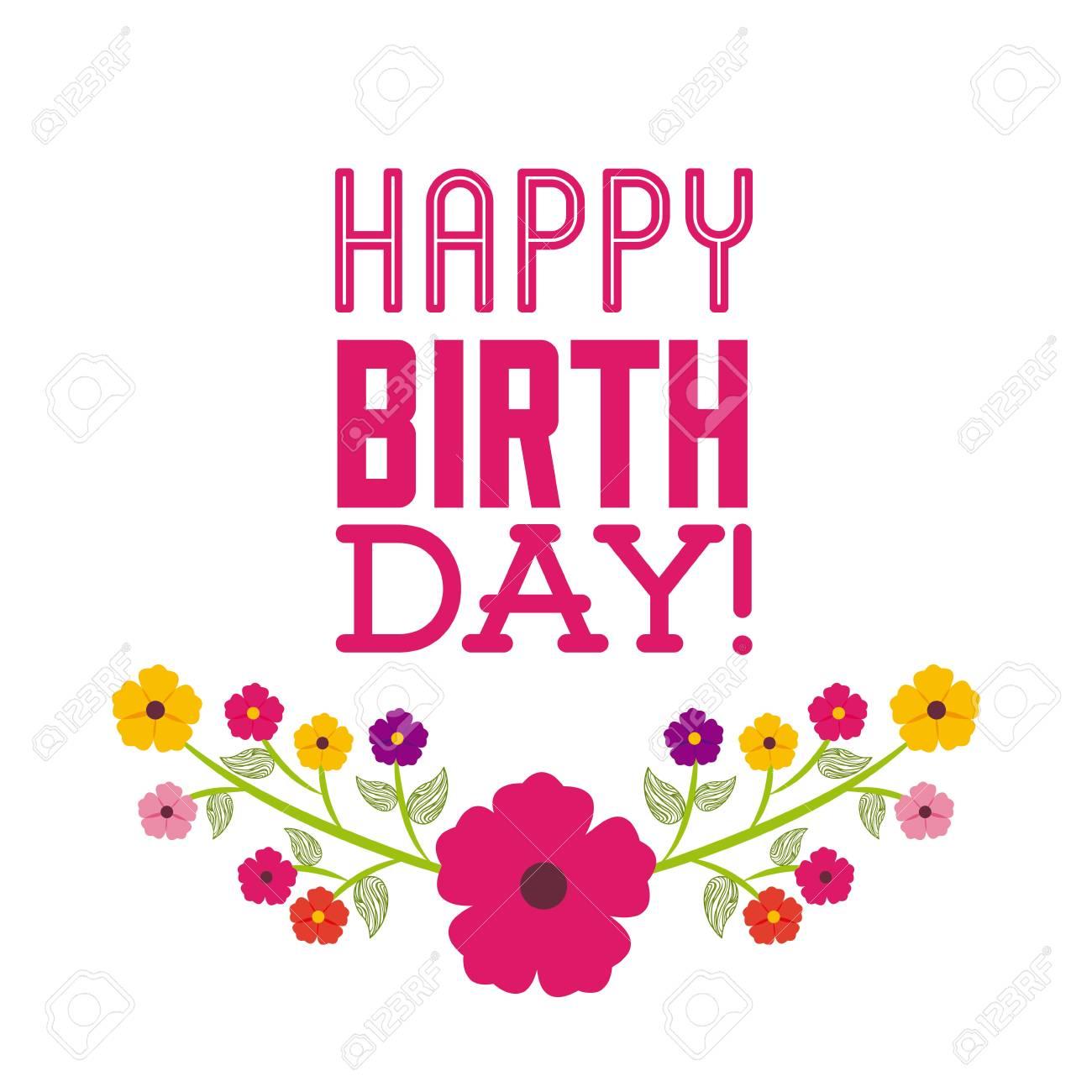 9c39cb2a8 Feliz Cumpleaños Celebración Cartel Floral Del Vector De Ilustración ...