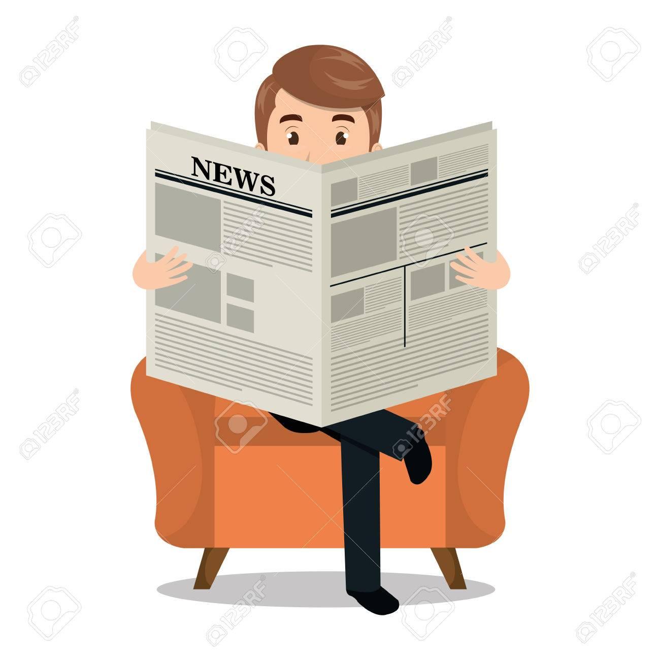 man reading newspaper icon vector illustration design royalty free