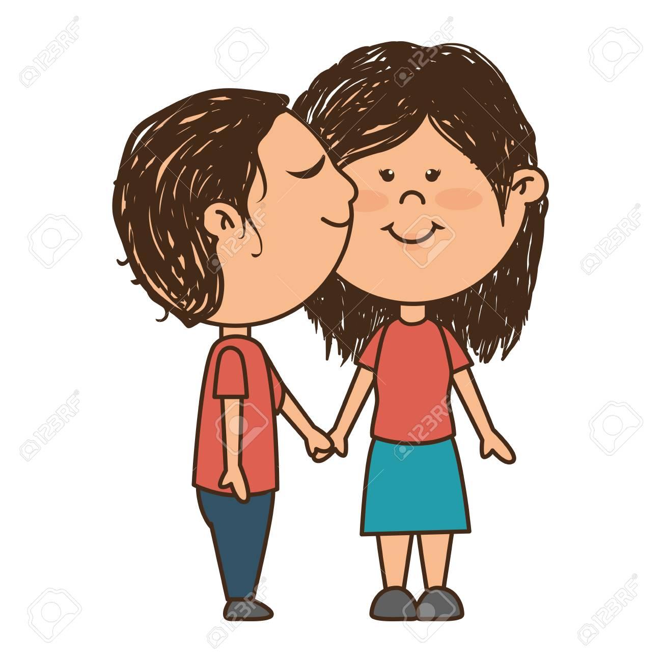 Homme Et Femme Amour Couple Romance Baiser Dessin Animé Vector Illustration