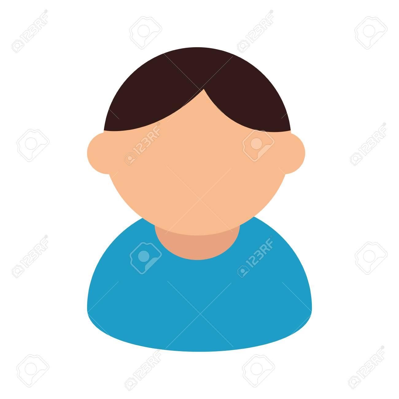 青い T シャツ漫画の男キャラ ベクター イラストを着たアバター男の
