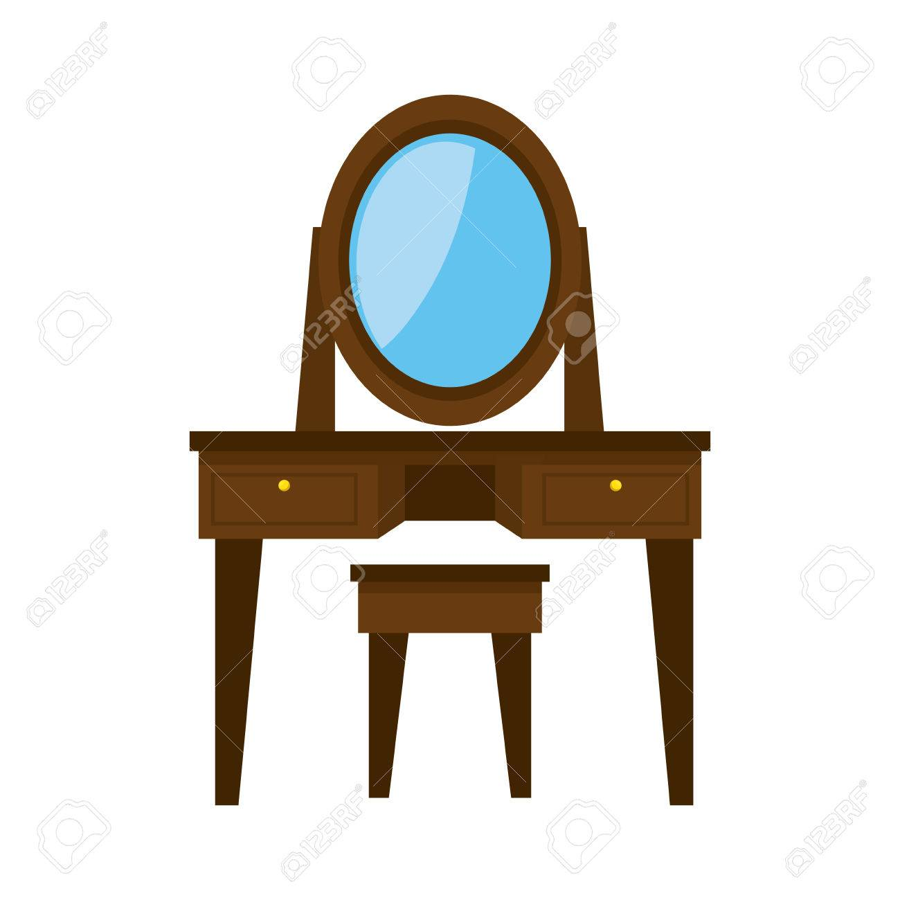 Dressing Table Wooden Mirror Bedroom Decoration Furniture Object ...