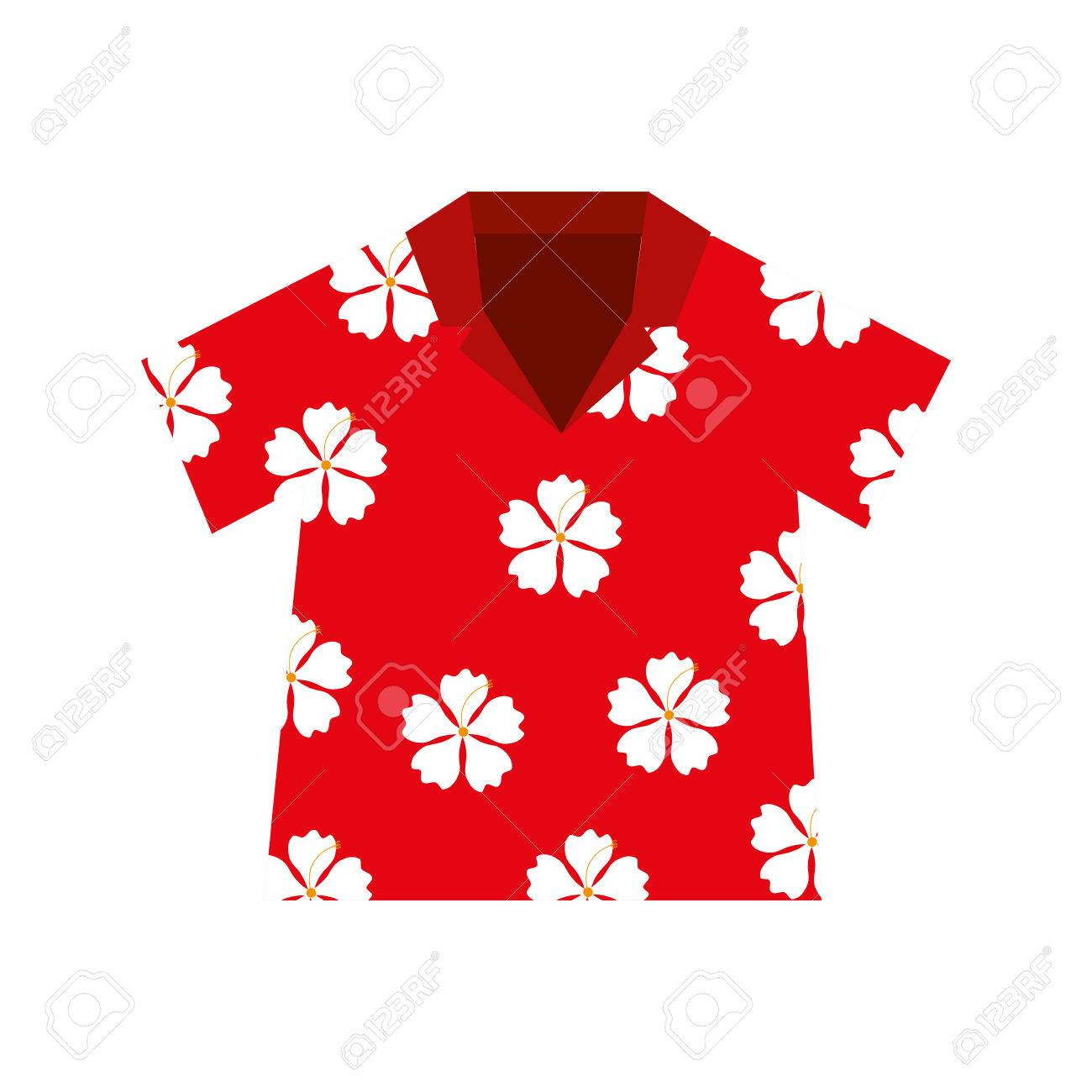Shirt Hawaiian Flowers Red Vector Illustration Eps 10 Royalty Free