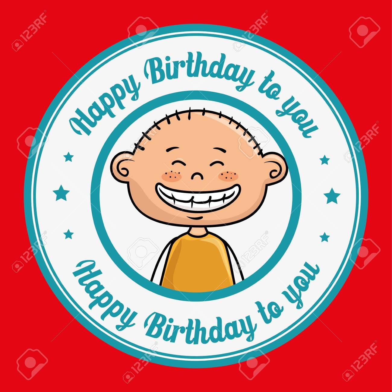 Boy Cartoon Happy Birthday Vector Illustration Graphic Royalty Free