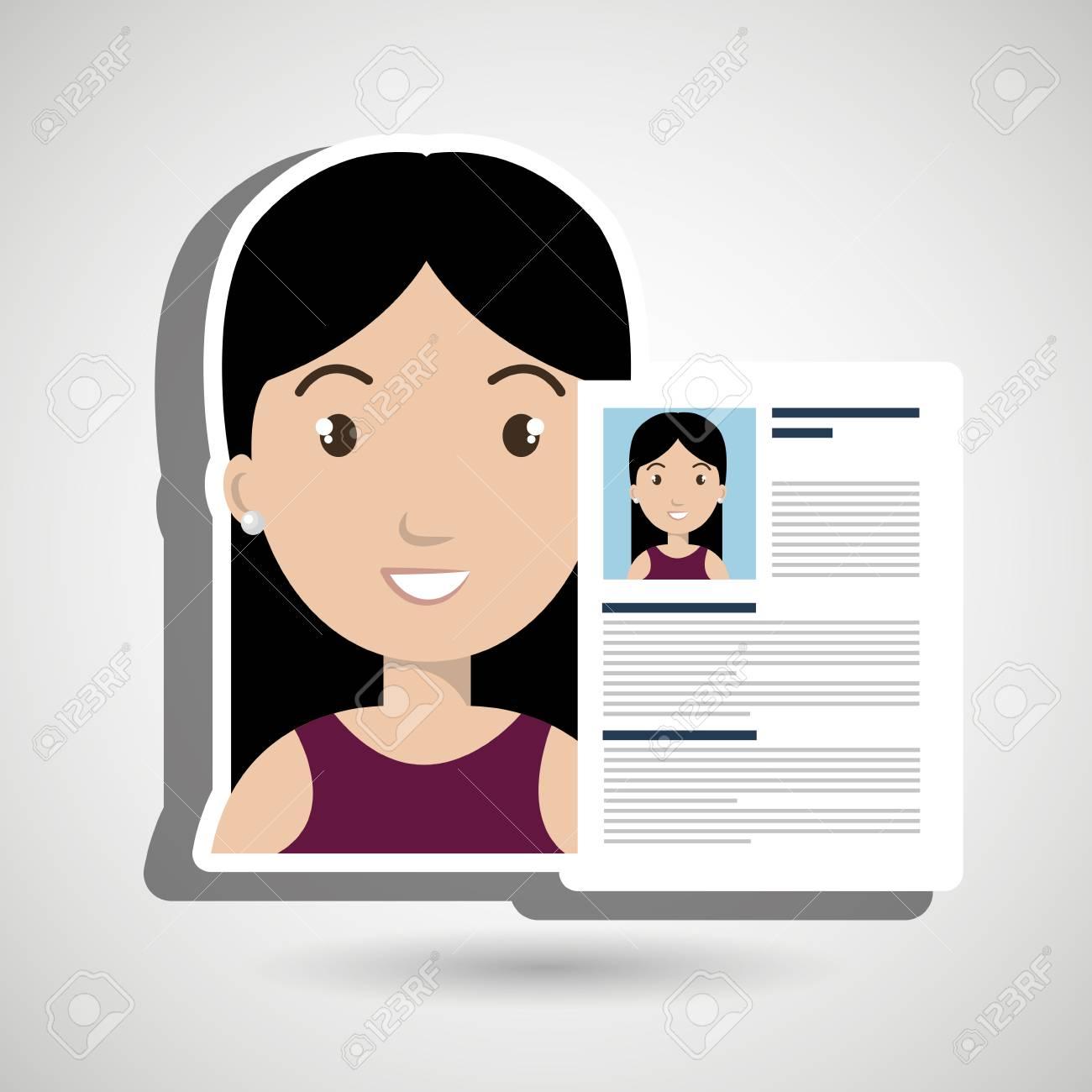 Curriculum Vitae Cv Icono De La Mujer Ejemplo Gráfico Del Vector ...