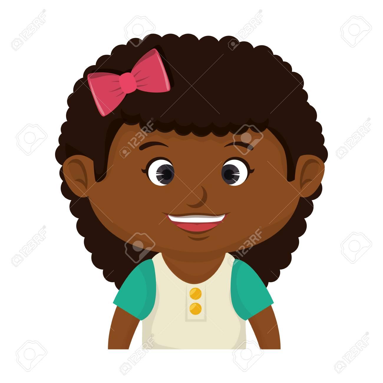 Niña Sonriente Cara Feliz Del Cabrito Del Niño De Dibujos Animados