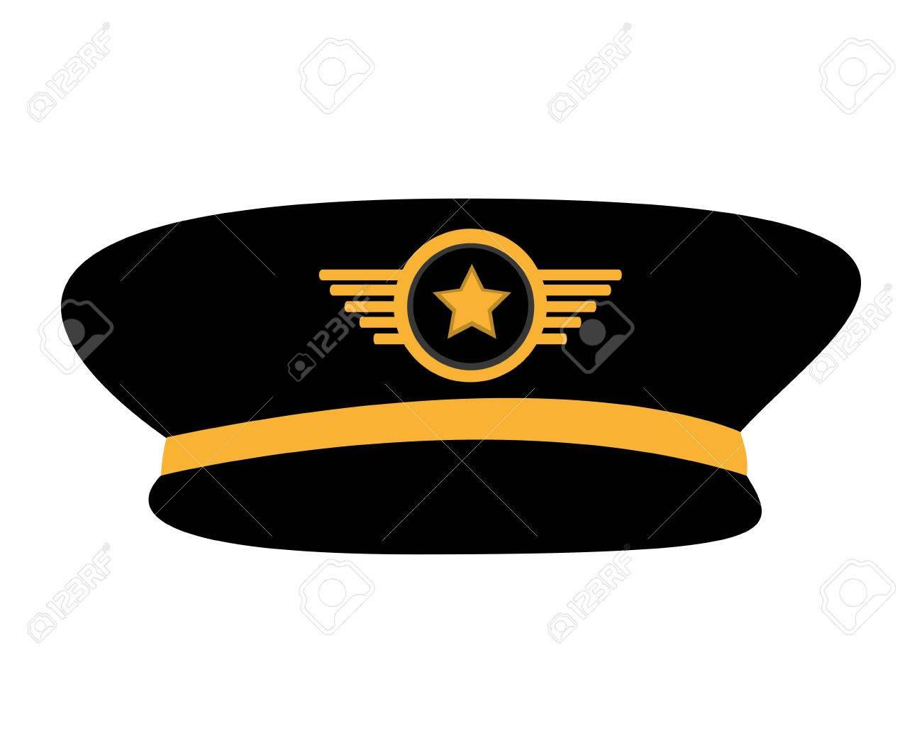 Piloto De Avión Sombrero Uniforme Vector, Ilustración, Diseño ...