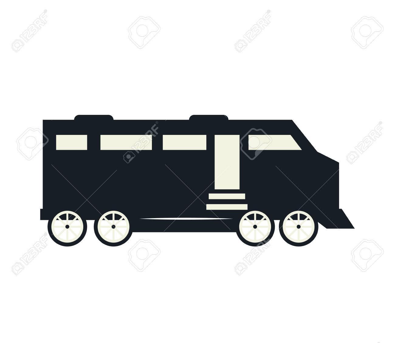 古い鉄道レール輸送車シルエット ベクトル イラストのイラスト素材