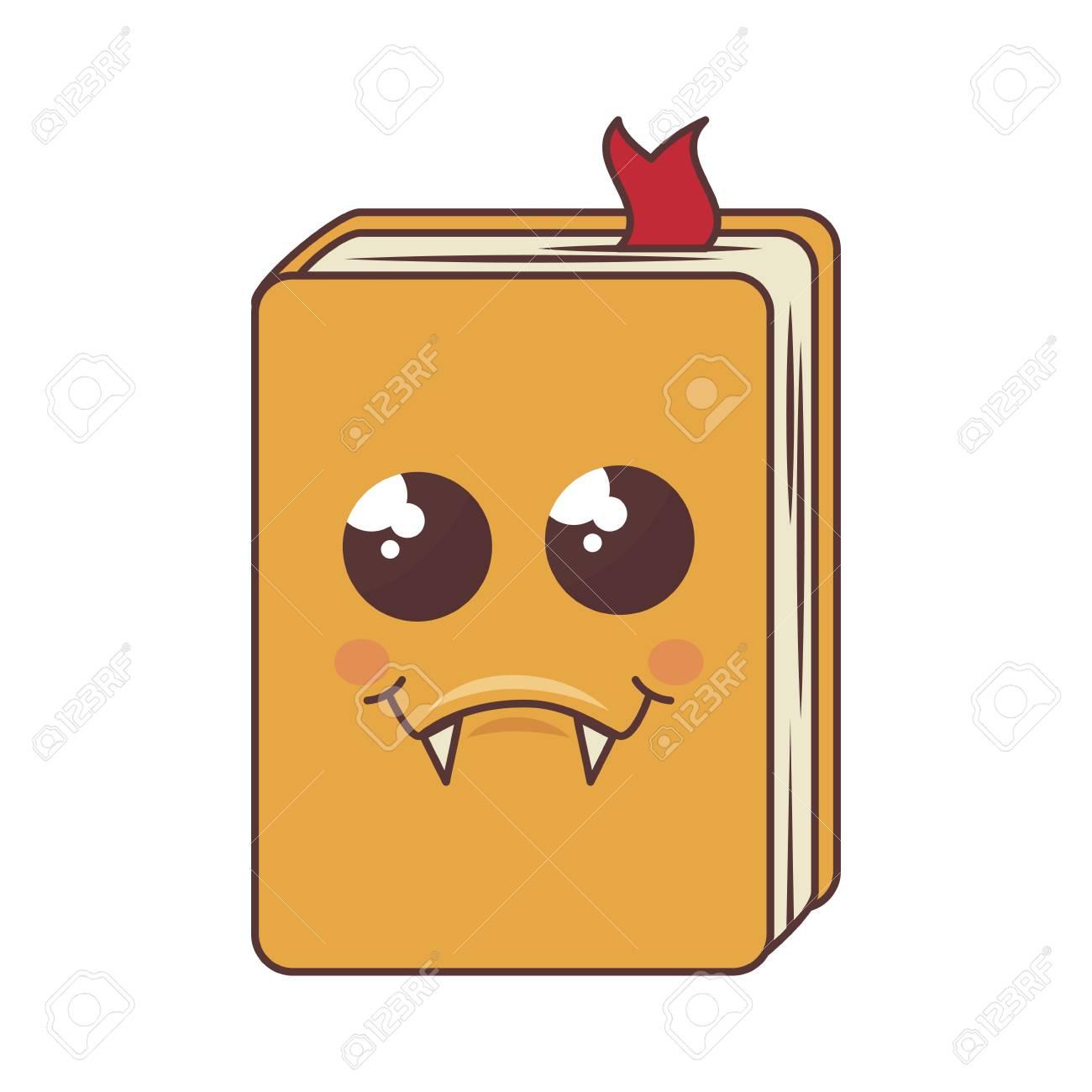 Libro Con Expresión Linda Cara En La Cubierta Amarilla Ilustración
