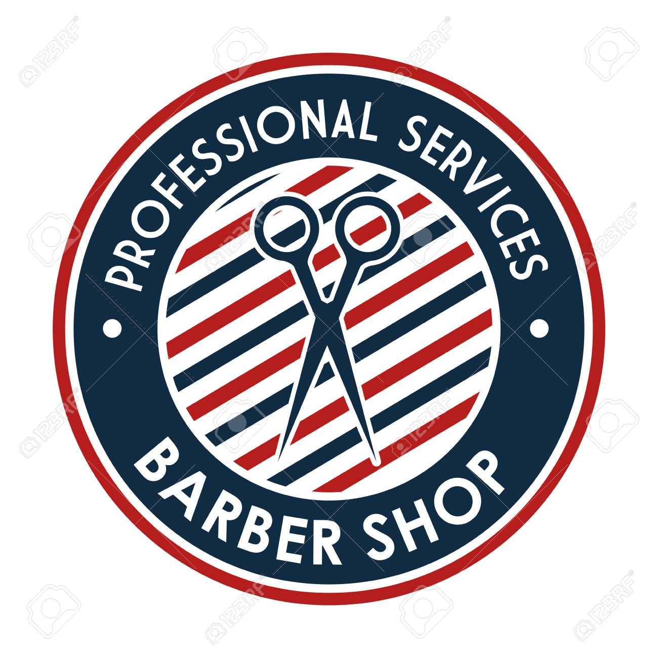 Barber Shop Professional Services Stamp With Scissors Vector Illustration Stock