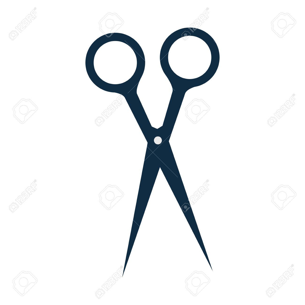 hair cutting scissors. blades and handles. silhouette. vector..