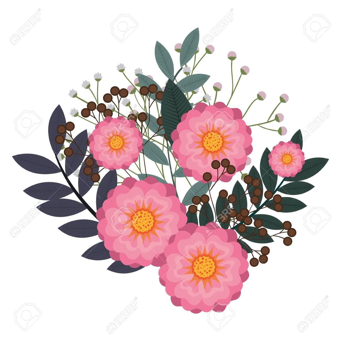 Rosa Flores Naturales Y Hermosas Flores Con Hojas Verdes