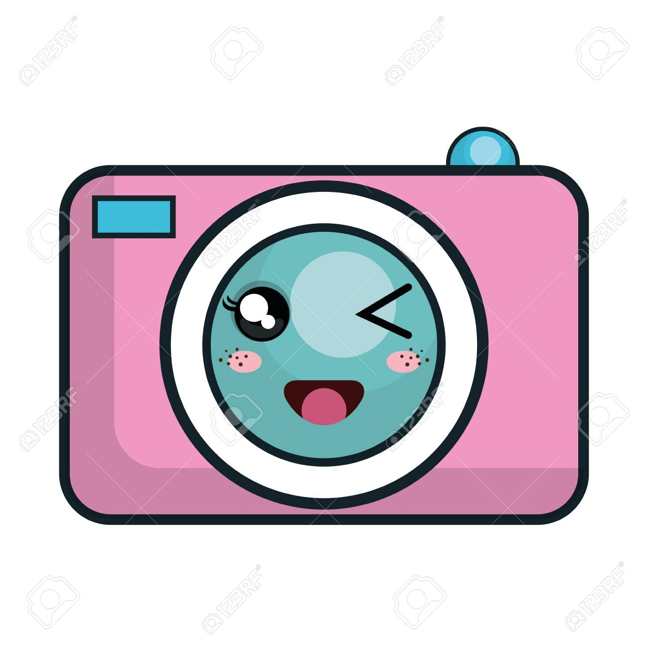 Pink Cartoon Photographic Cute Camera Vector Illustration