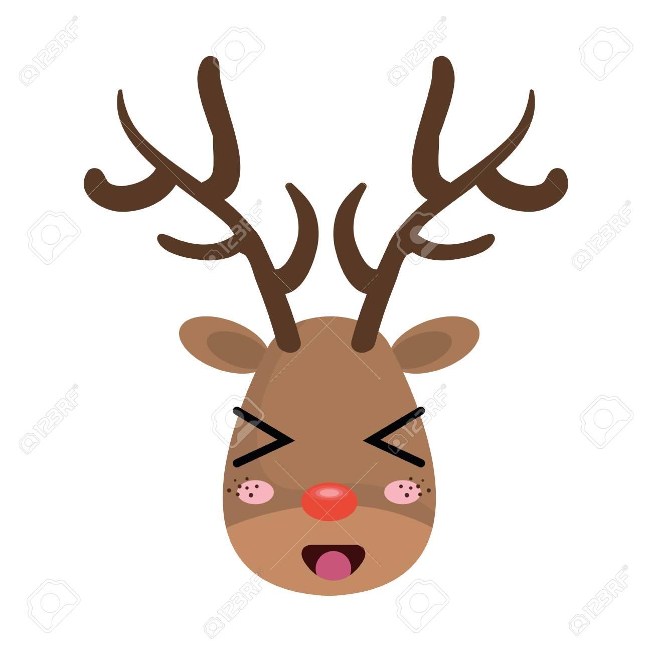 Noel Dessin Anime Cerf Avec Nez Rouge Caractere Rudolph