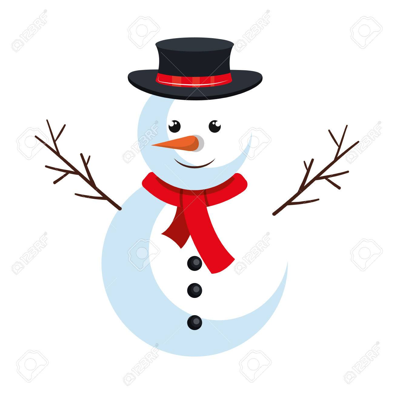 snowman cartoon with red scarf and black hat christmas symbol rh 123rf com vector snow mountains vector snow cone