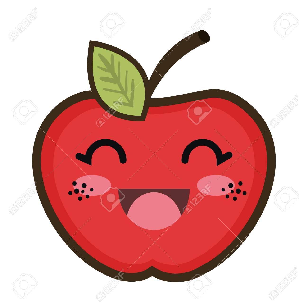 Comida Vermelha De Frutas De Maçã Desenhos Animados Kawaii Com Expressão De Expressão Feliz Ilustração Vetorial