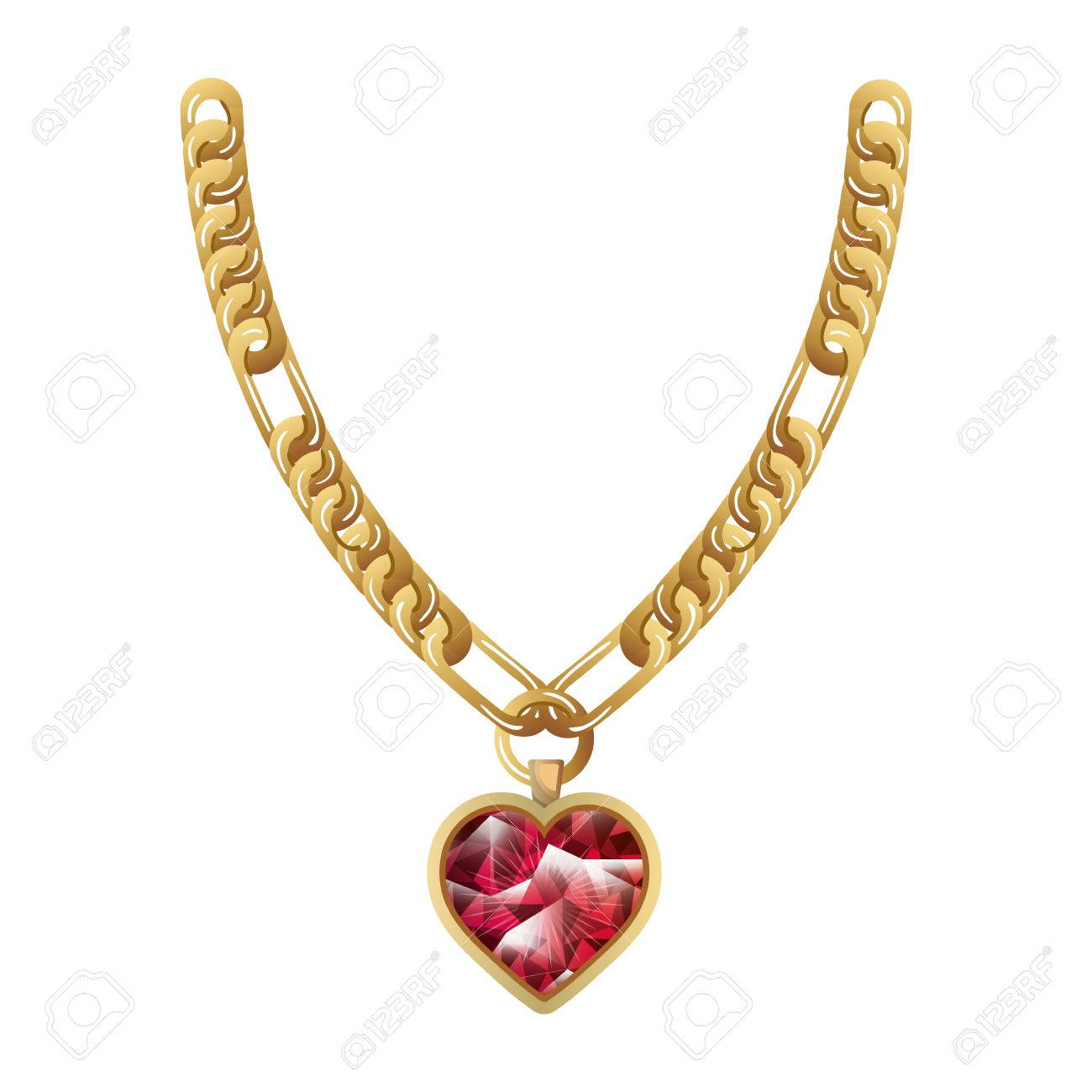 Jewelry Gold Necklace With Precious Stone Luxury And Fashion