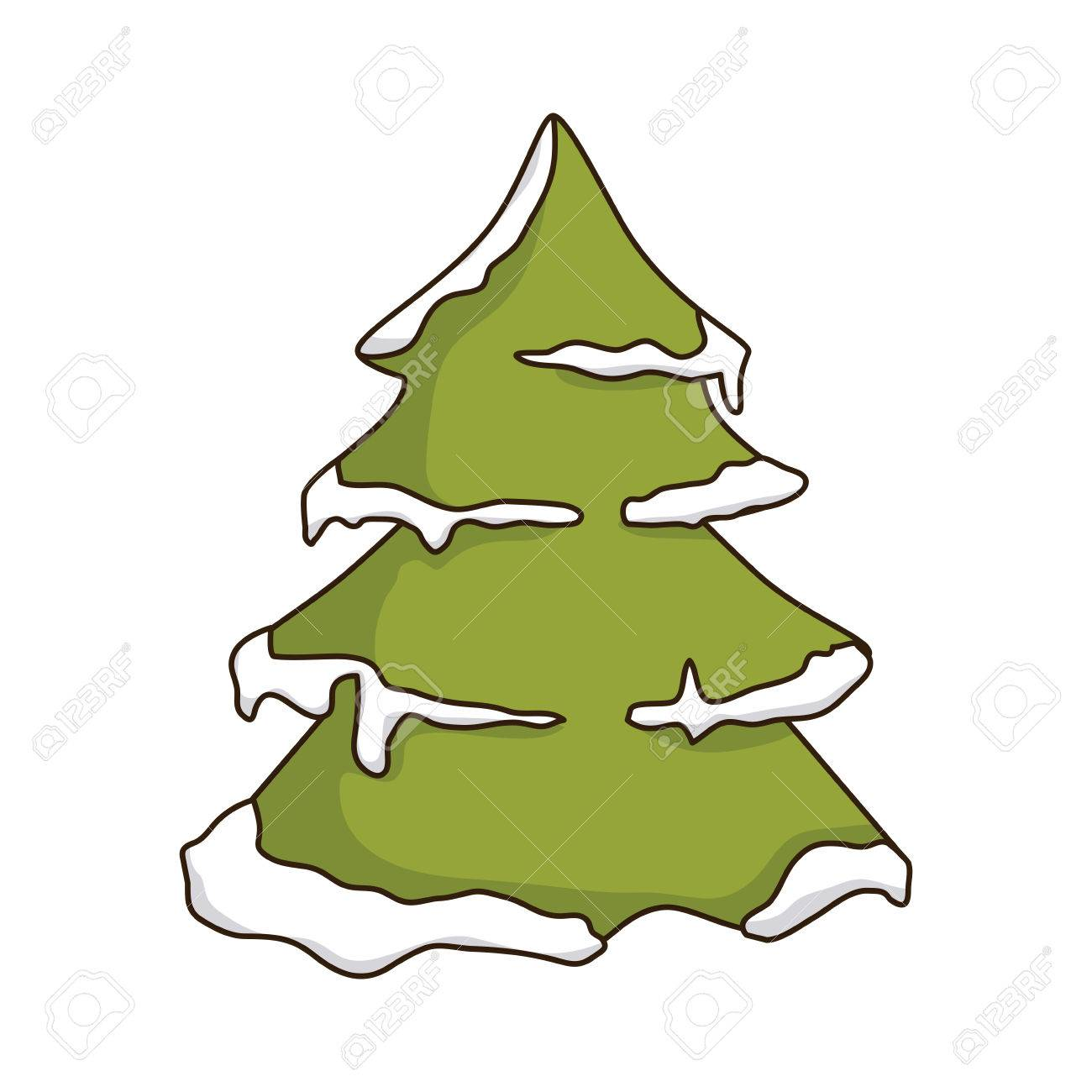 Tall Christmas Tree Clipart.Green Pine Tall Tree With Snow Winter Season Nature Vector
