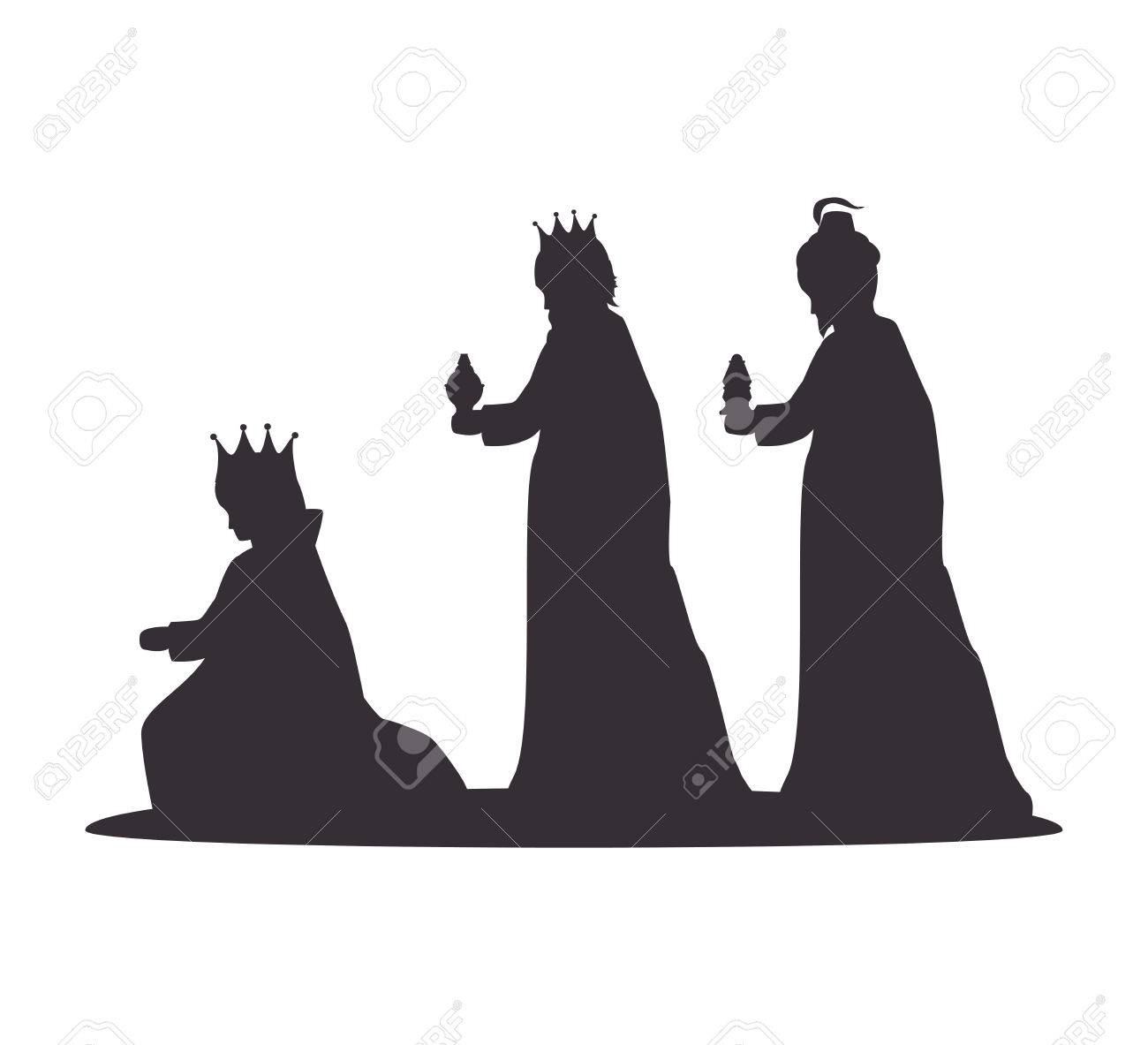 silhouette three wise kings manger design isolated vector illustration eps 10 - 62502771