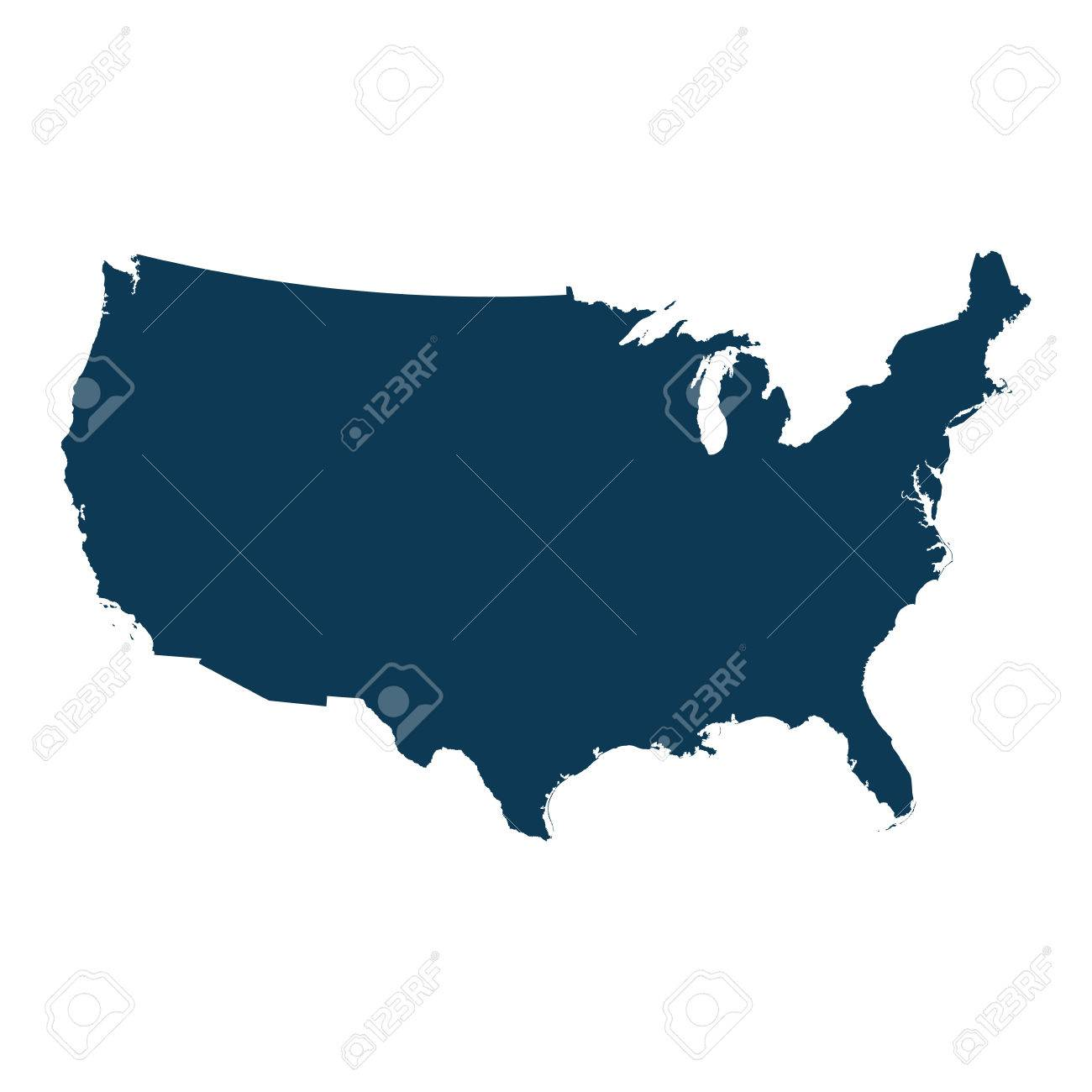 United States Of America Country Map. Usa Territory. Vector ...